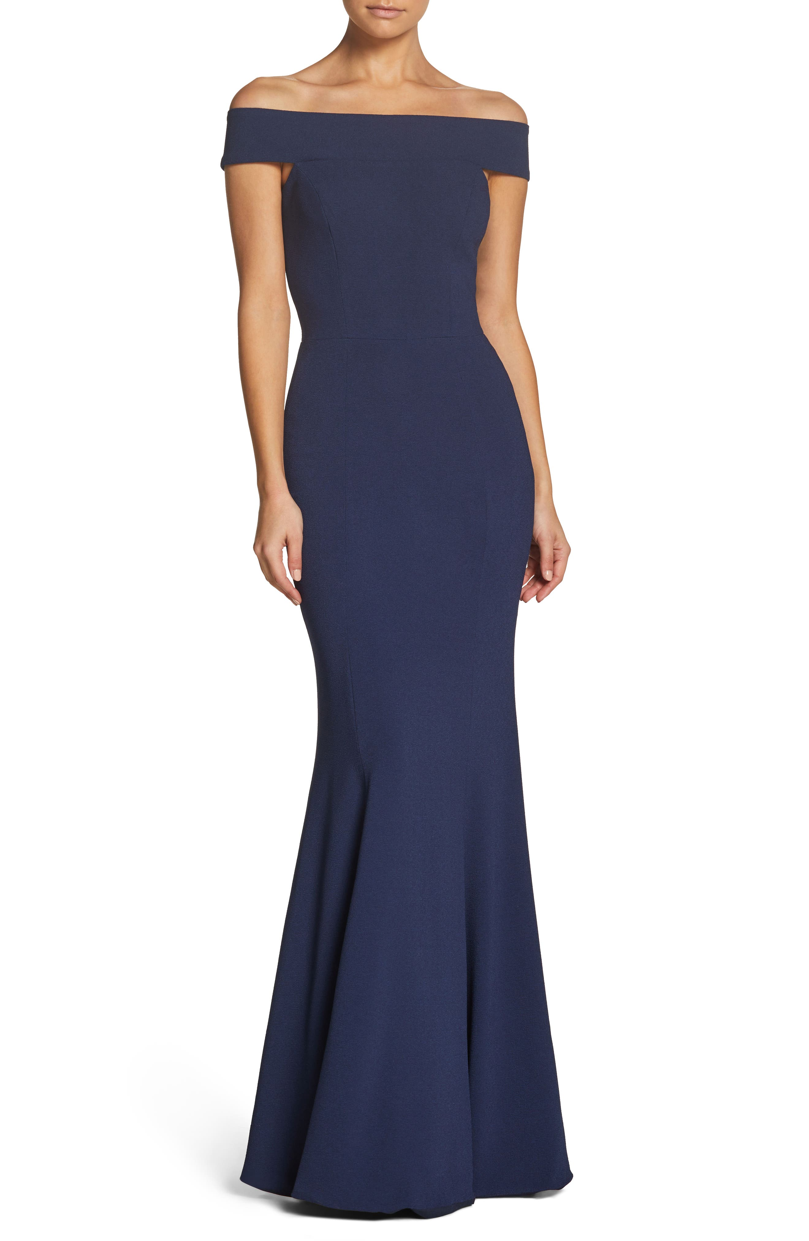 Jackie Off the Shoulder Crepe Trumpet Gown,                             Main thumbnail 1, color,                             NAVY