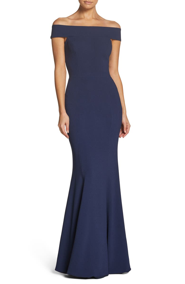 Jackie Off The Shoulder Crepe Trumpet Gown