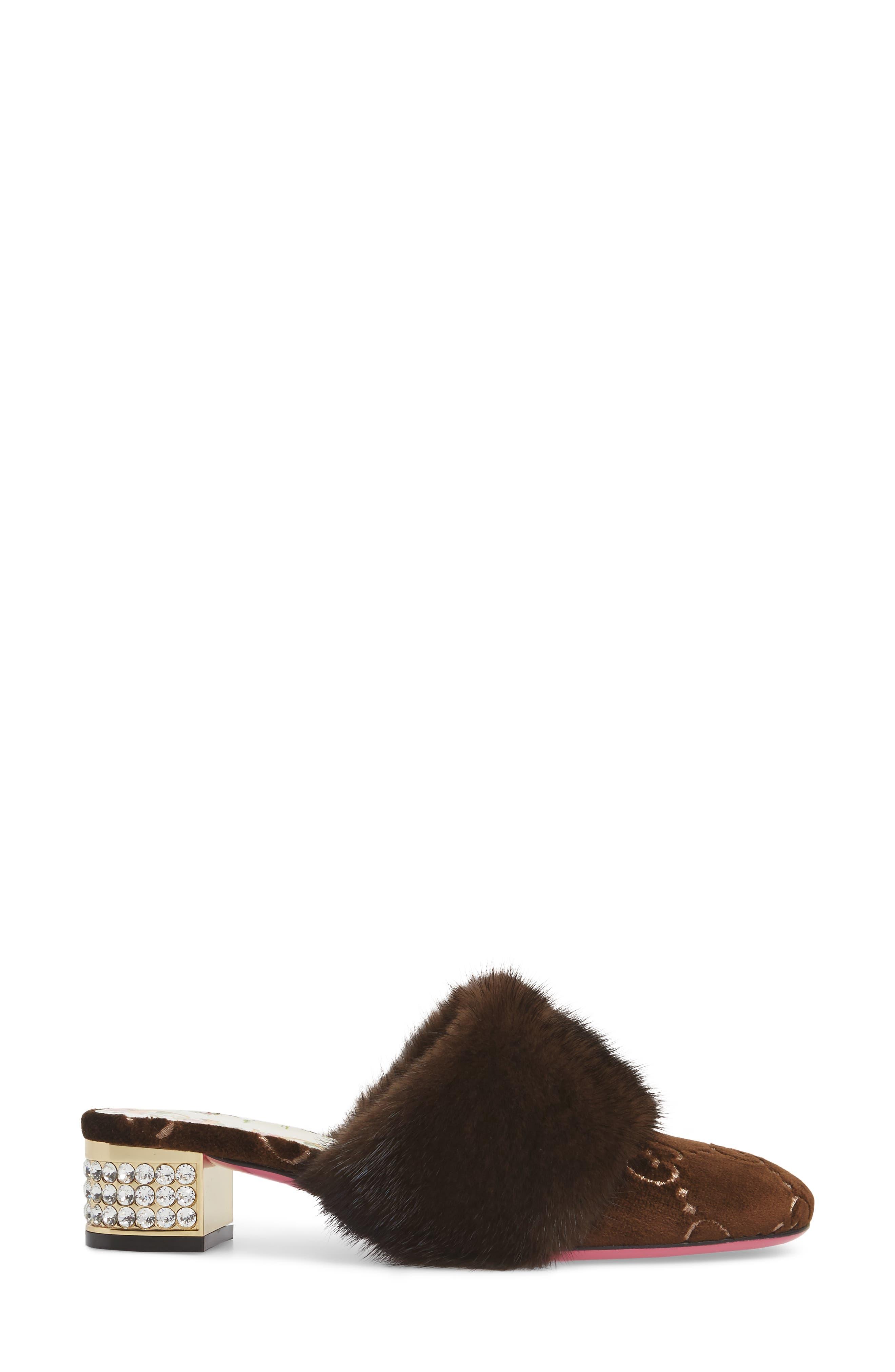 Candy Genuine Mink Fur Mule,                             Alternate thumbnail 3, color,                             MARRONE
