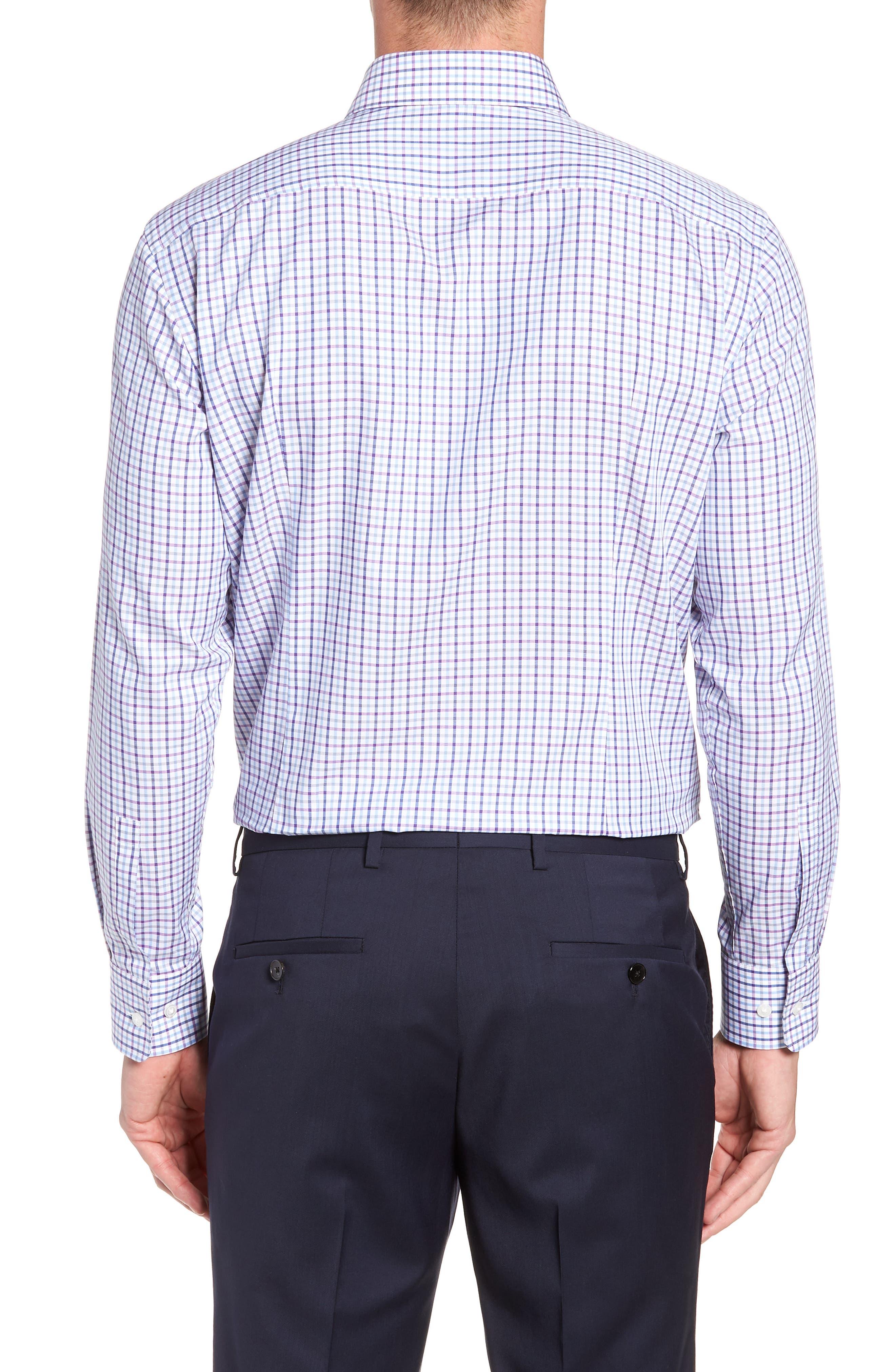 Sharp Fit Mark Check Dress Shirt,                             Alternate thumbnail 3, color,                             PURPLE