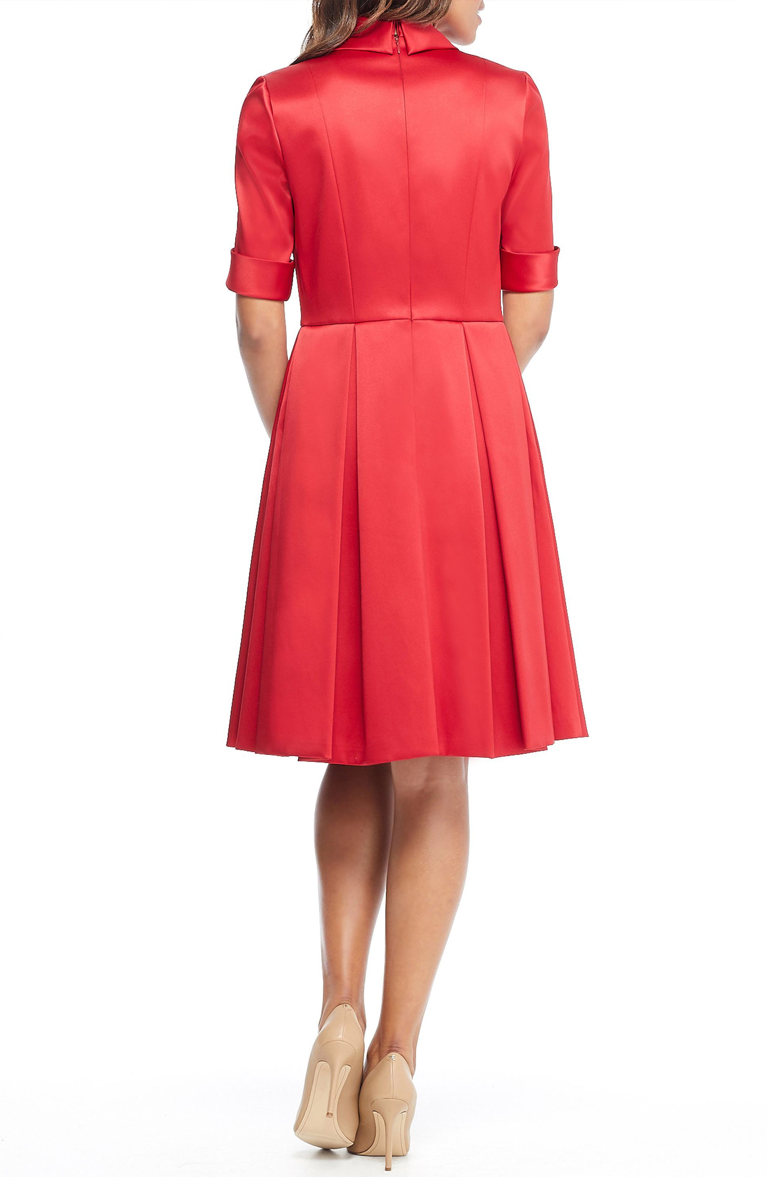 GAL MEETS GLAM COLLECTION,                             Ruby Royal Satin Asymmetrical Collar Dress,                             Alternate thumbnail 3, color,                             RUBY