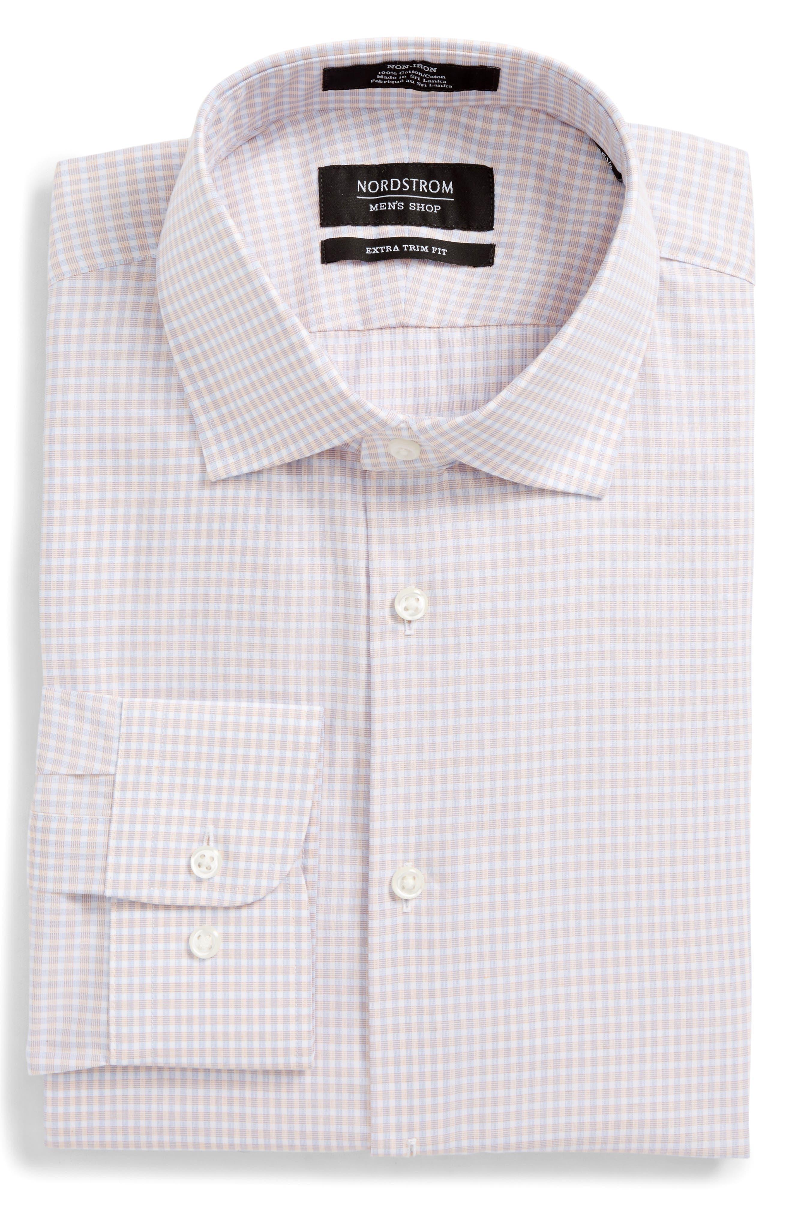 Extra Trim Fit Non-Iron Check Dress Shirt,                             Alternate thumbnail 15, color,