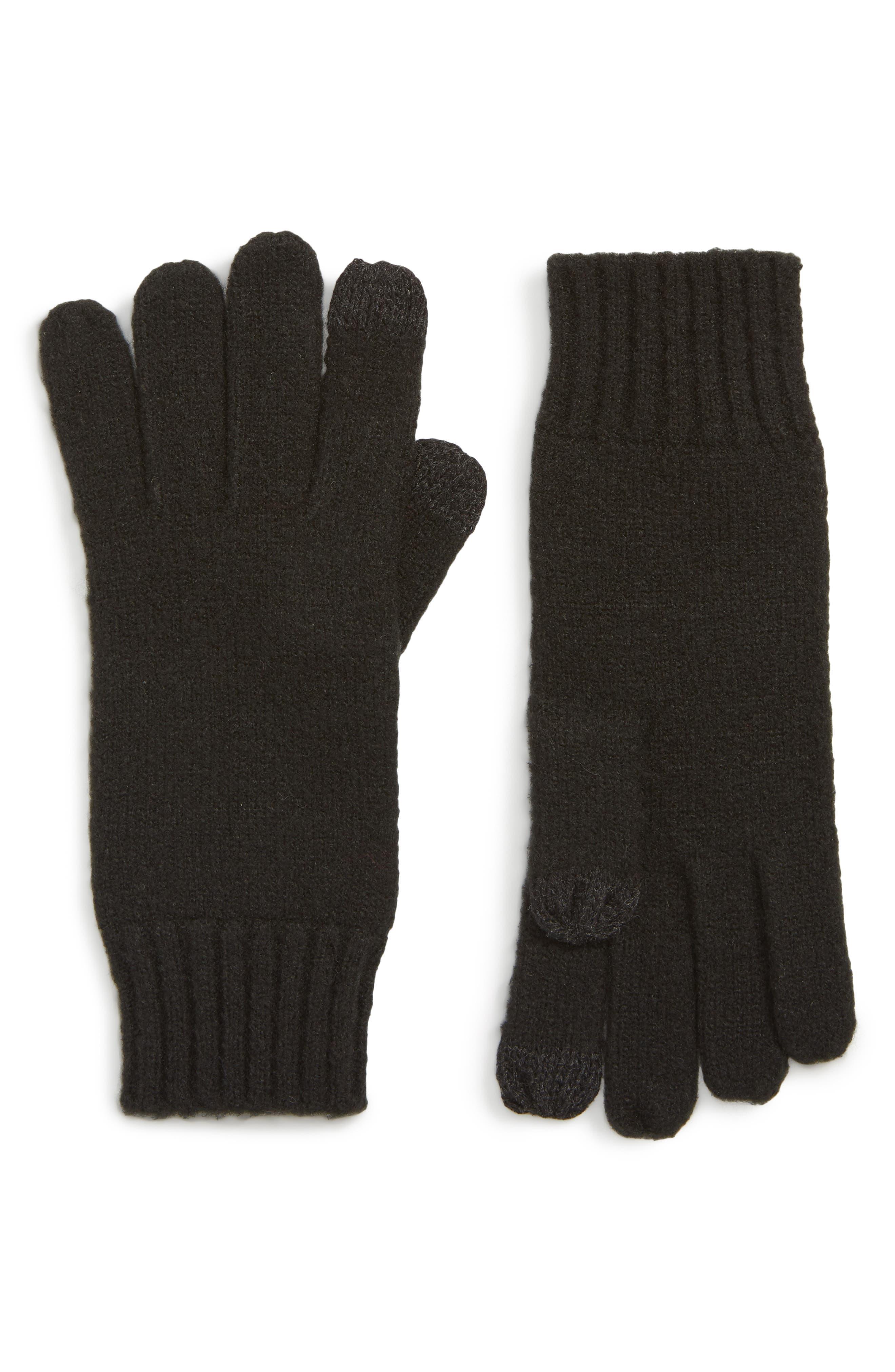 Knit Tech Gloves,                             Main thumbnail 1, color,                             BLACK