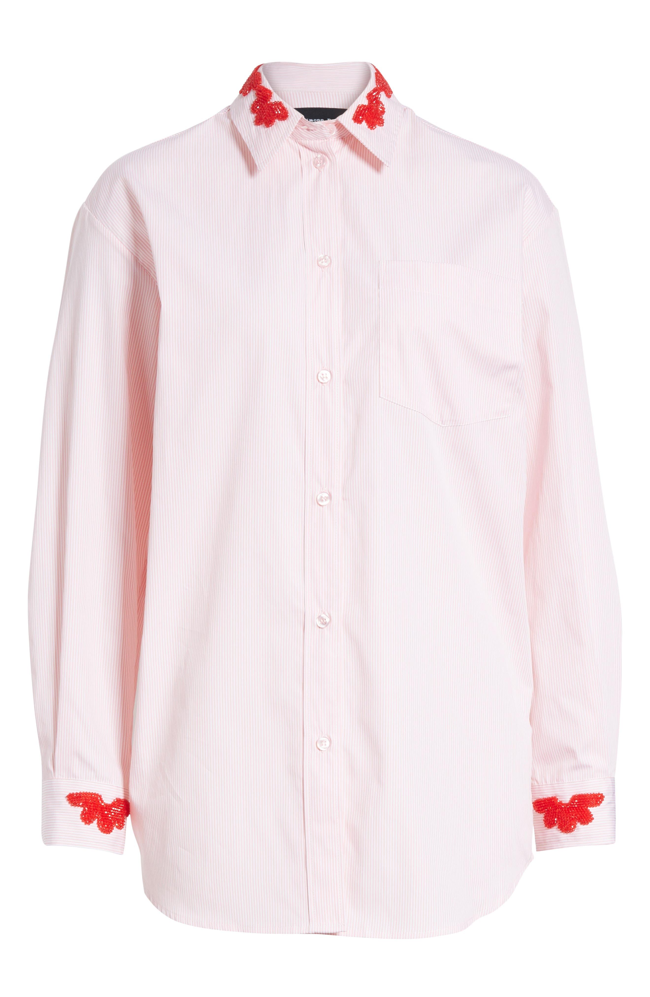 Beaded Pinstripe Shirt,                             Alternate thumbnail 6, color,