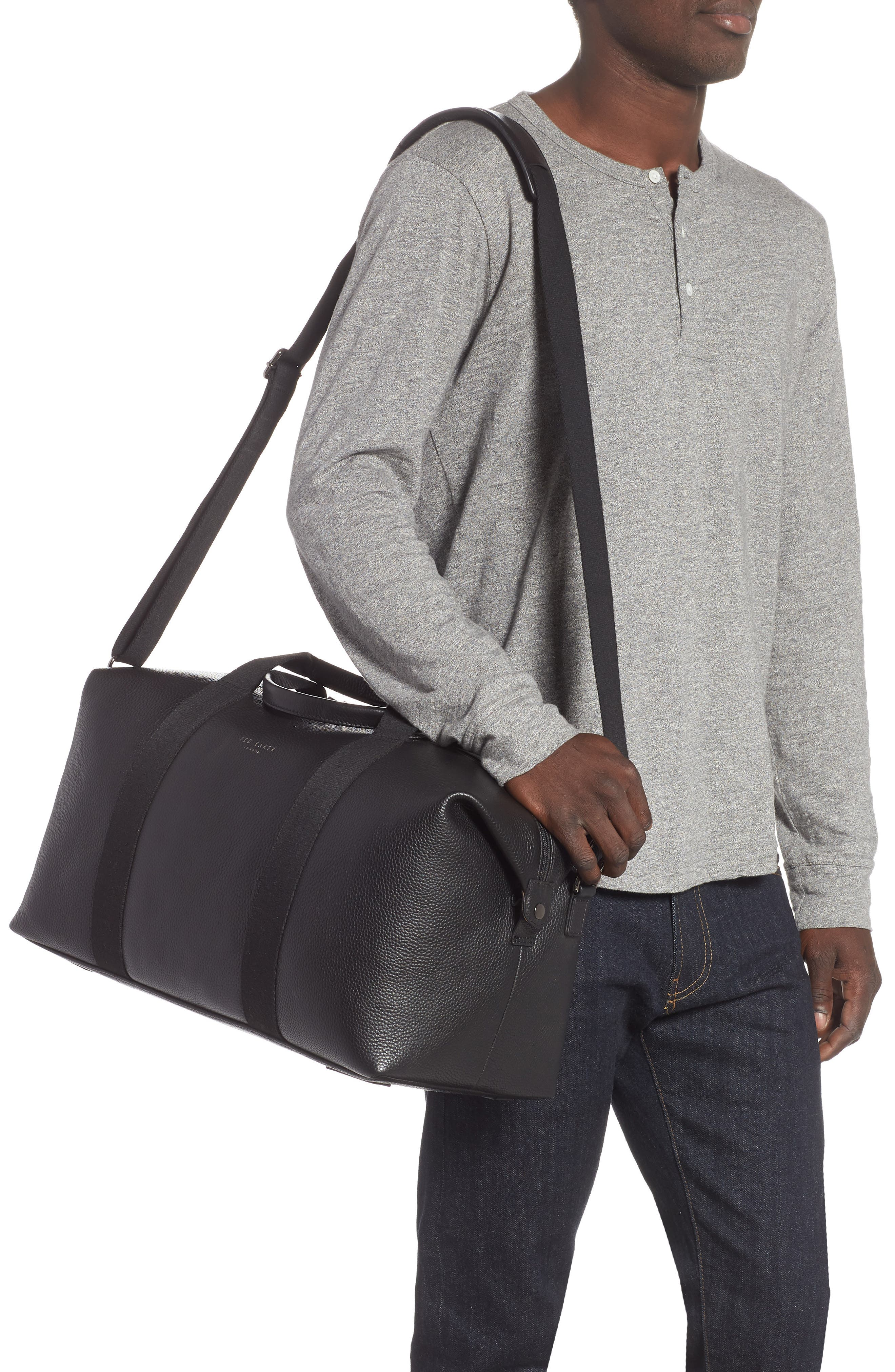 Holding Leather Duffel Bag,                             Alternate thumbnail 2, color,                             BLACK