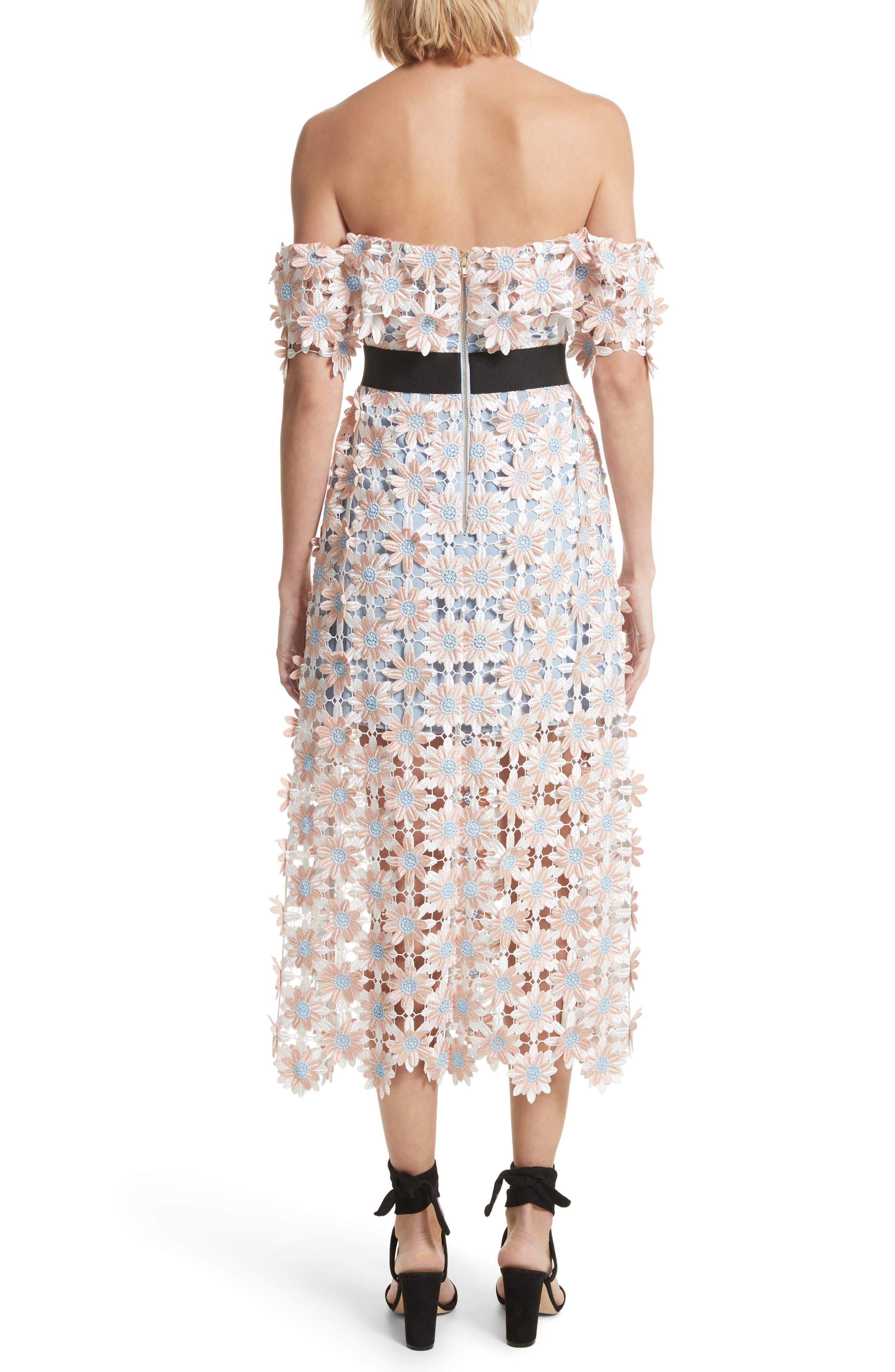 3D Floral Lace Off the Shoulder Midi Dress,                             Alternate thumbnail 2, color,                             650