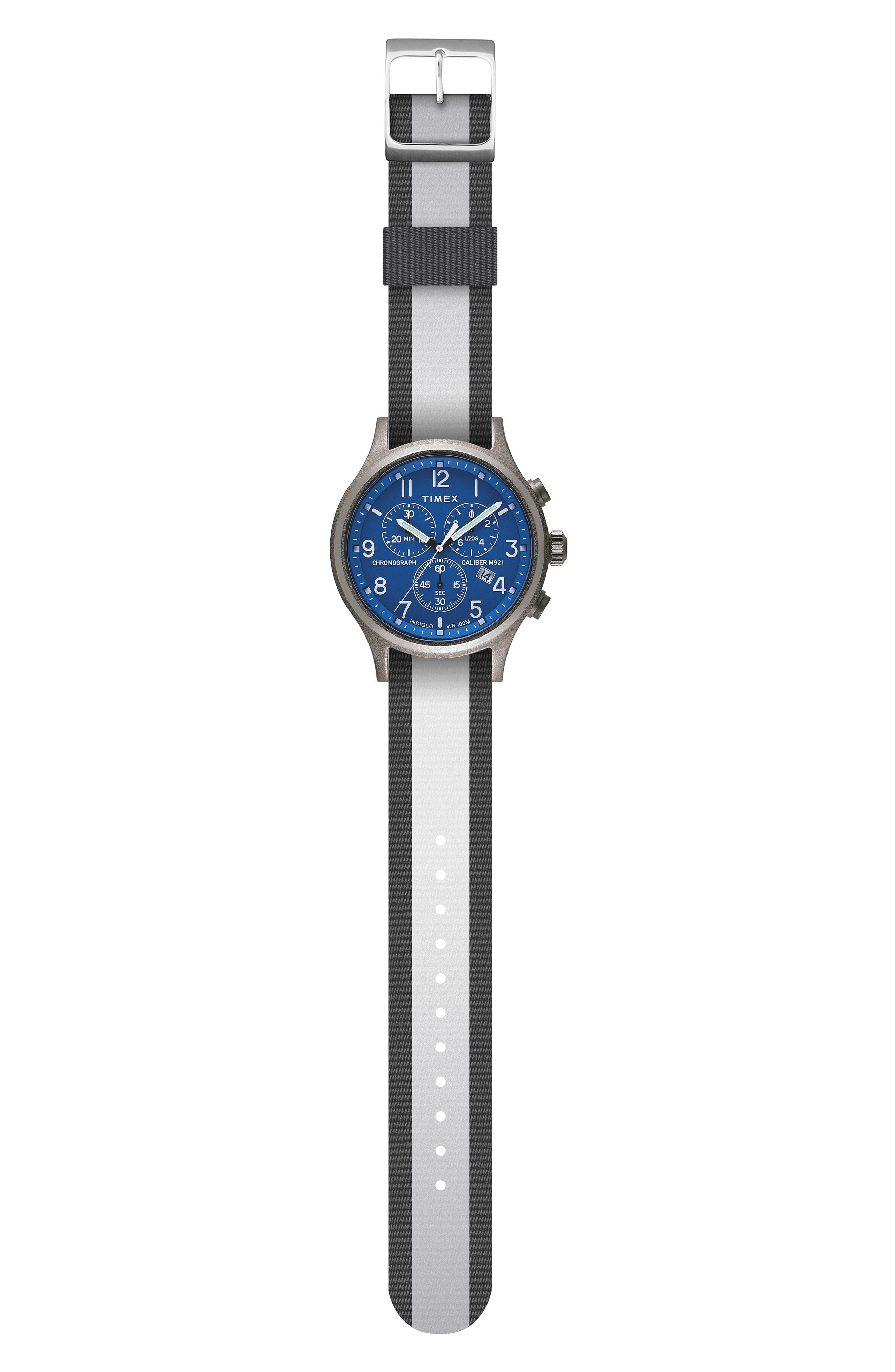 Allied Chronograph Woven Strap Watch, 42mm,                             Alternate thumbnail 2, color,                             SILVER/ BLUE/ GREY