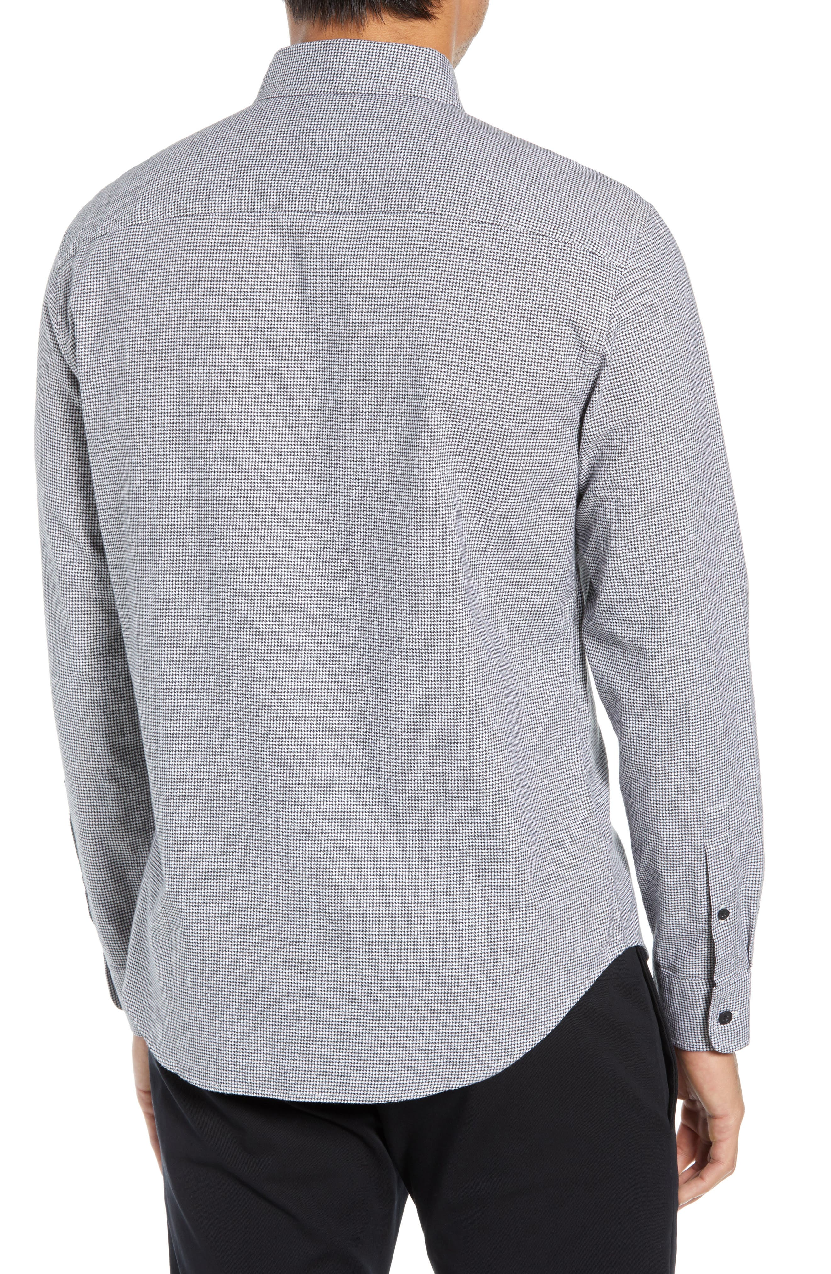Trim Fit Houndstooth Flannel Sport Shirt,                             Alternate thumbnail 3, color,                             010