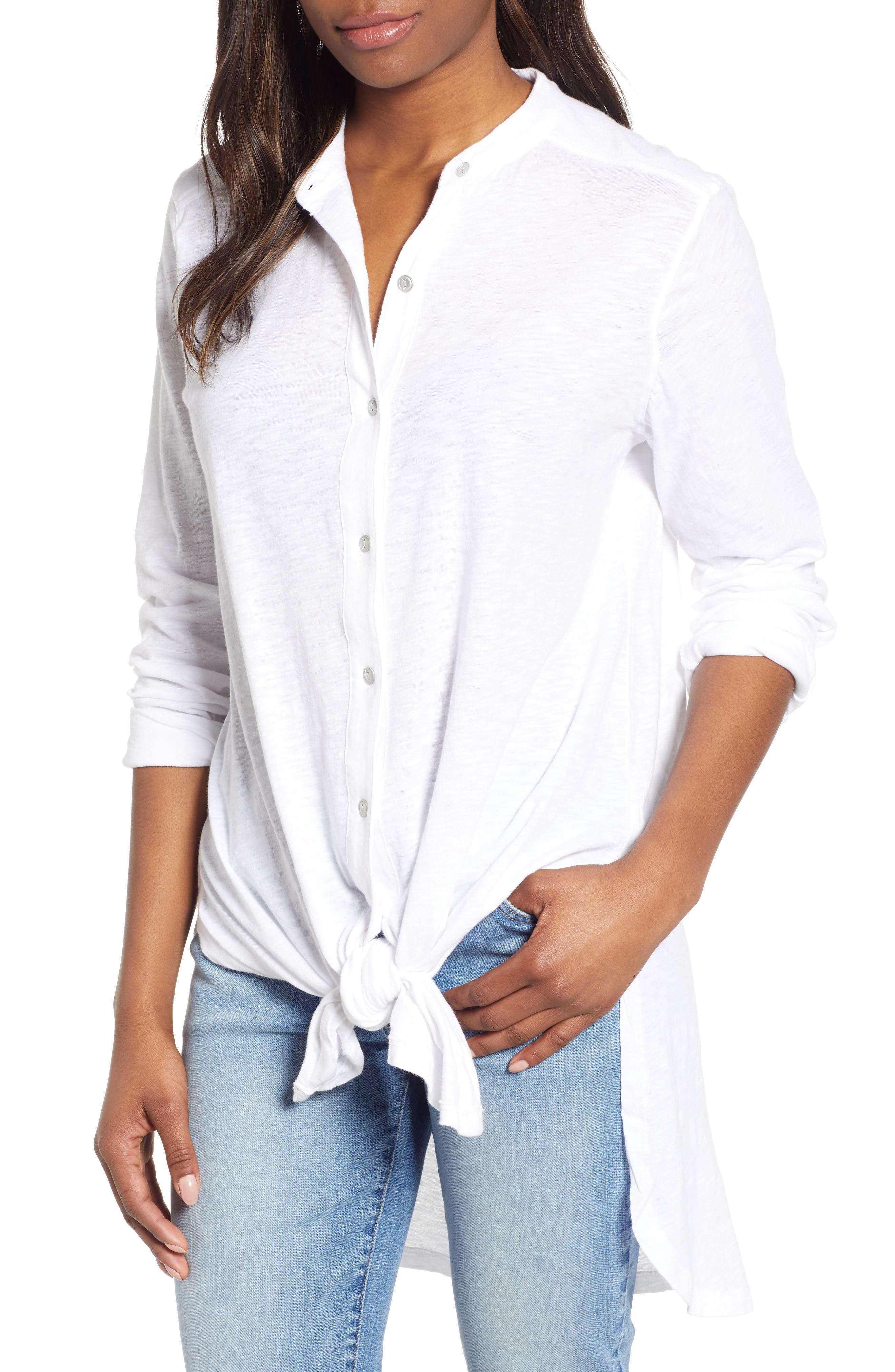 CASLON<SUP>®</SUP>,                             Button Down Knit Tunic,                             Main thumbnail 1, color,                             WHITE