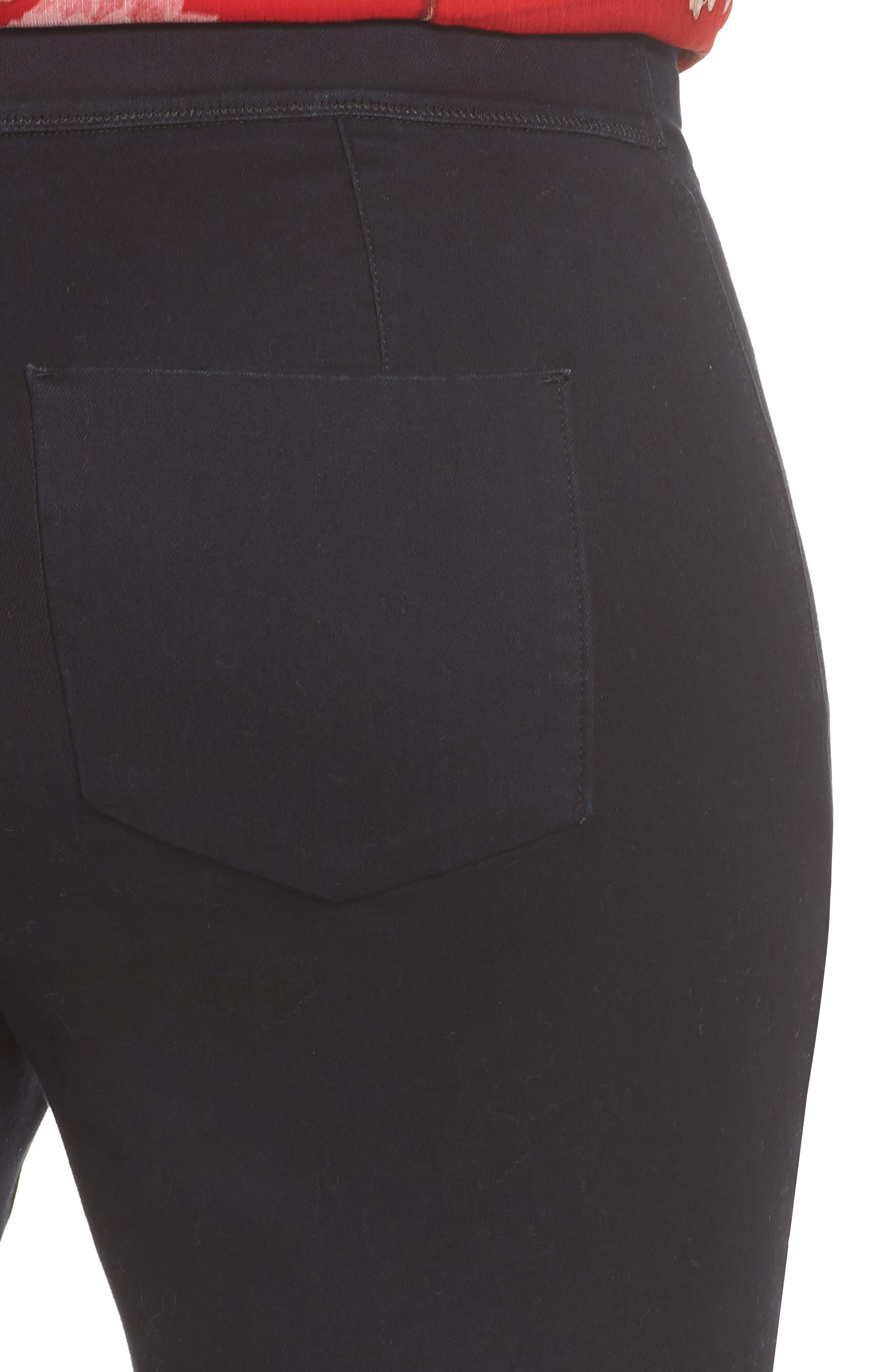 Super Stretch Denim Leggings,                             Alternate thumbnail 4, color,                             RICH BLACK