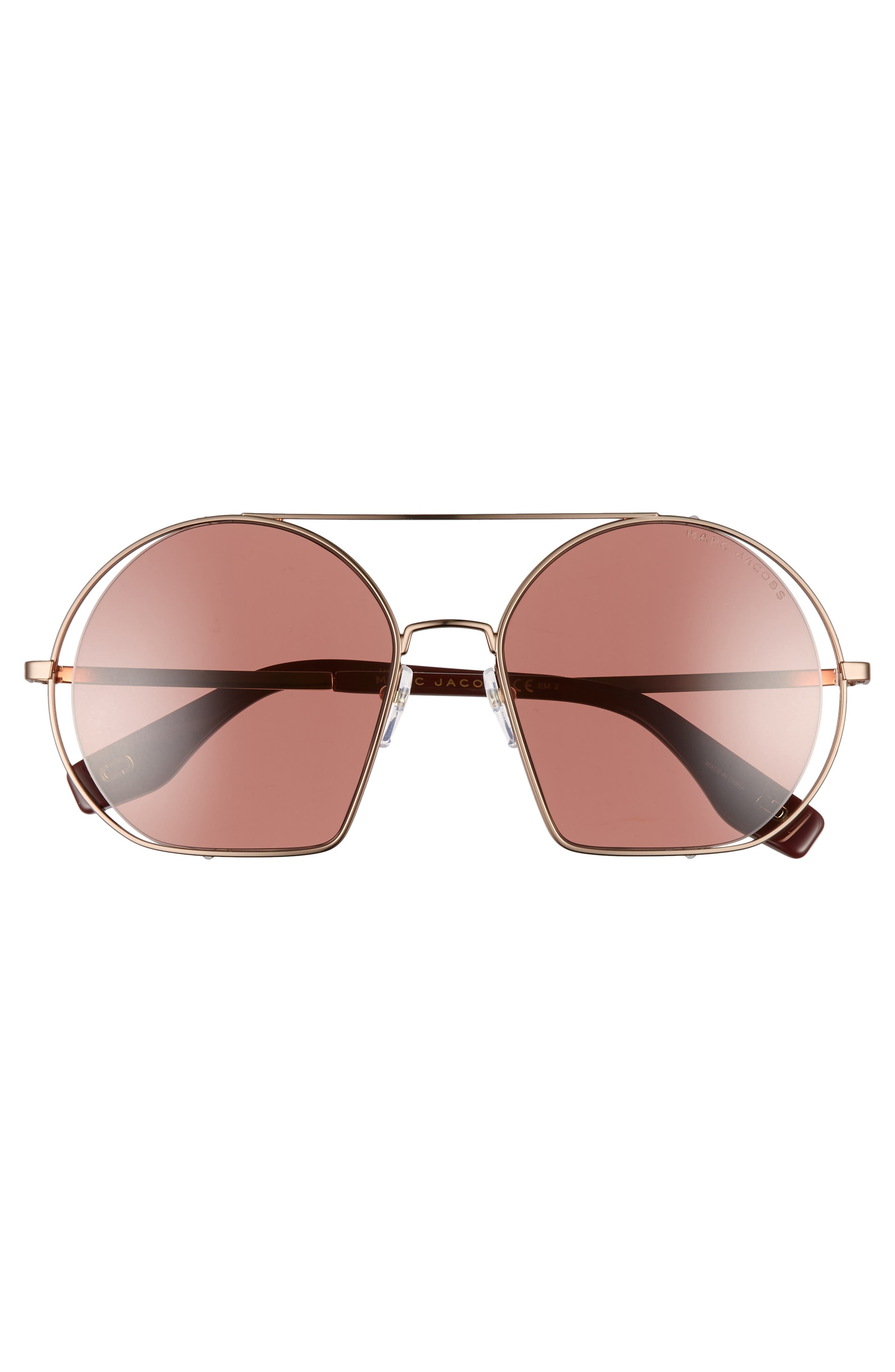 56mm Round Sunglasses,                             Alternate thumbnail 3, color,                             GOLD/ BURGUNDY