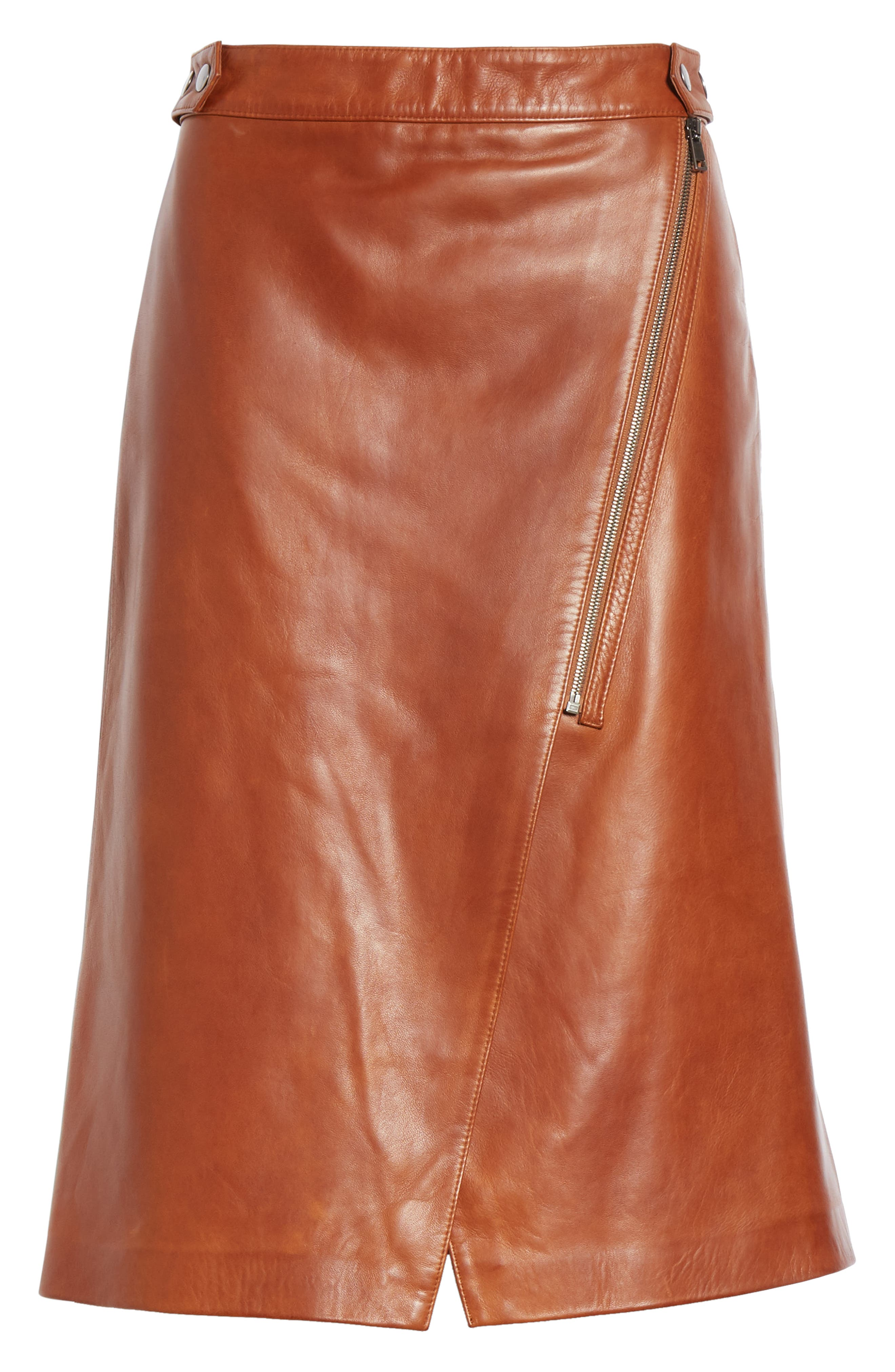 Faux Wrap Leather Skirt,                             Alternate thumbnail 6, color,                             RUST BISQUE