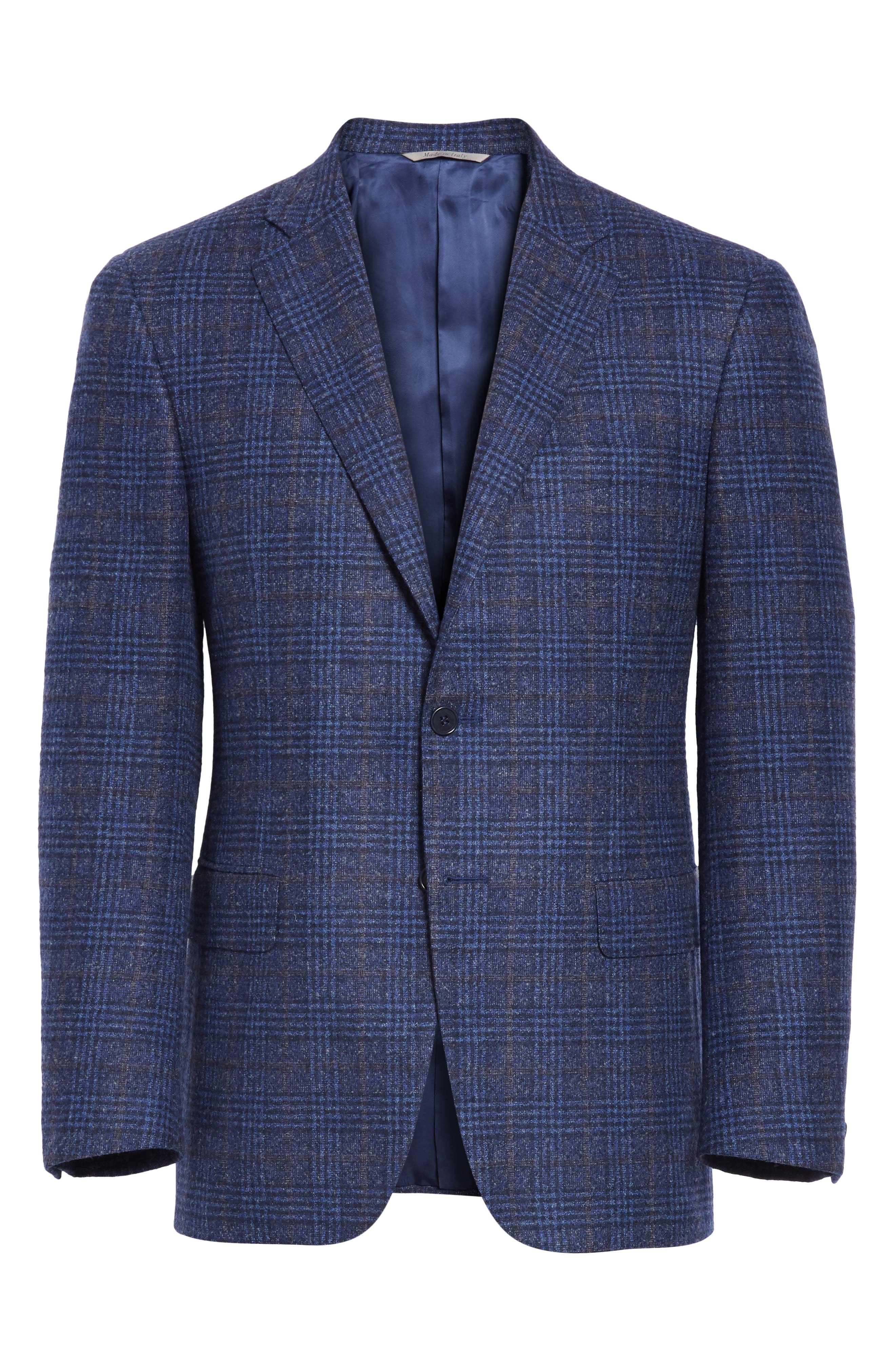 Classic Fit Plaid Wool Blend Sport Coat,                             Alternate thumbnail 5, color,                             DARK BLUE