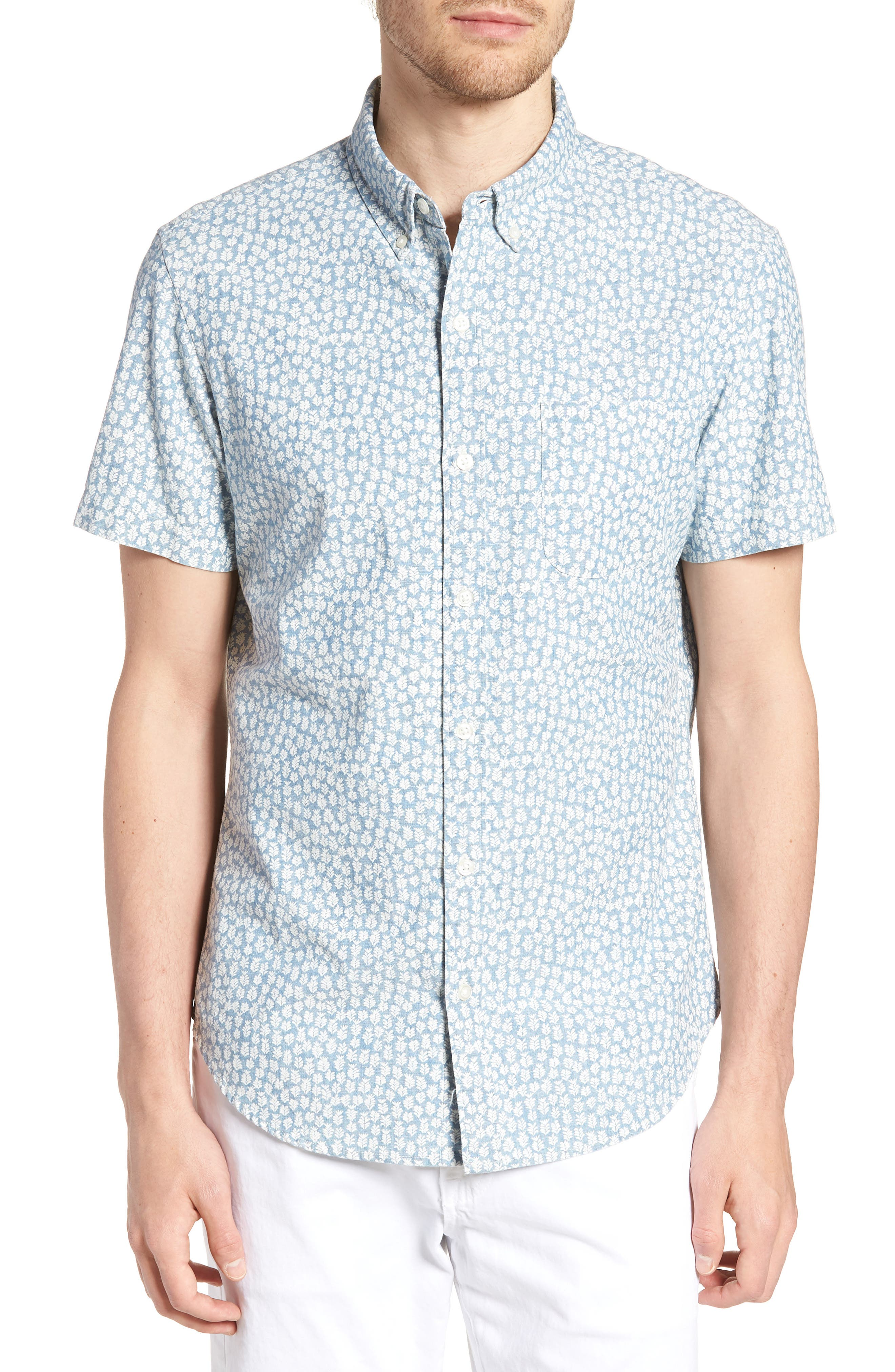 BONOBOS Riviera Slim Fit Leaf Print Sport Shirt, Main, color, 400