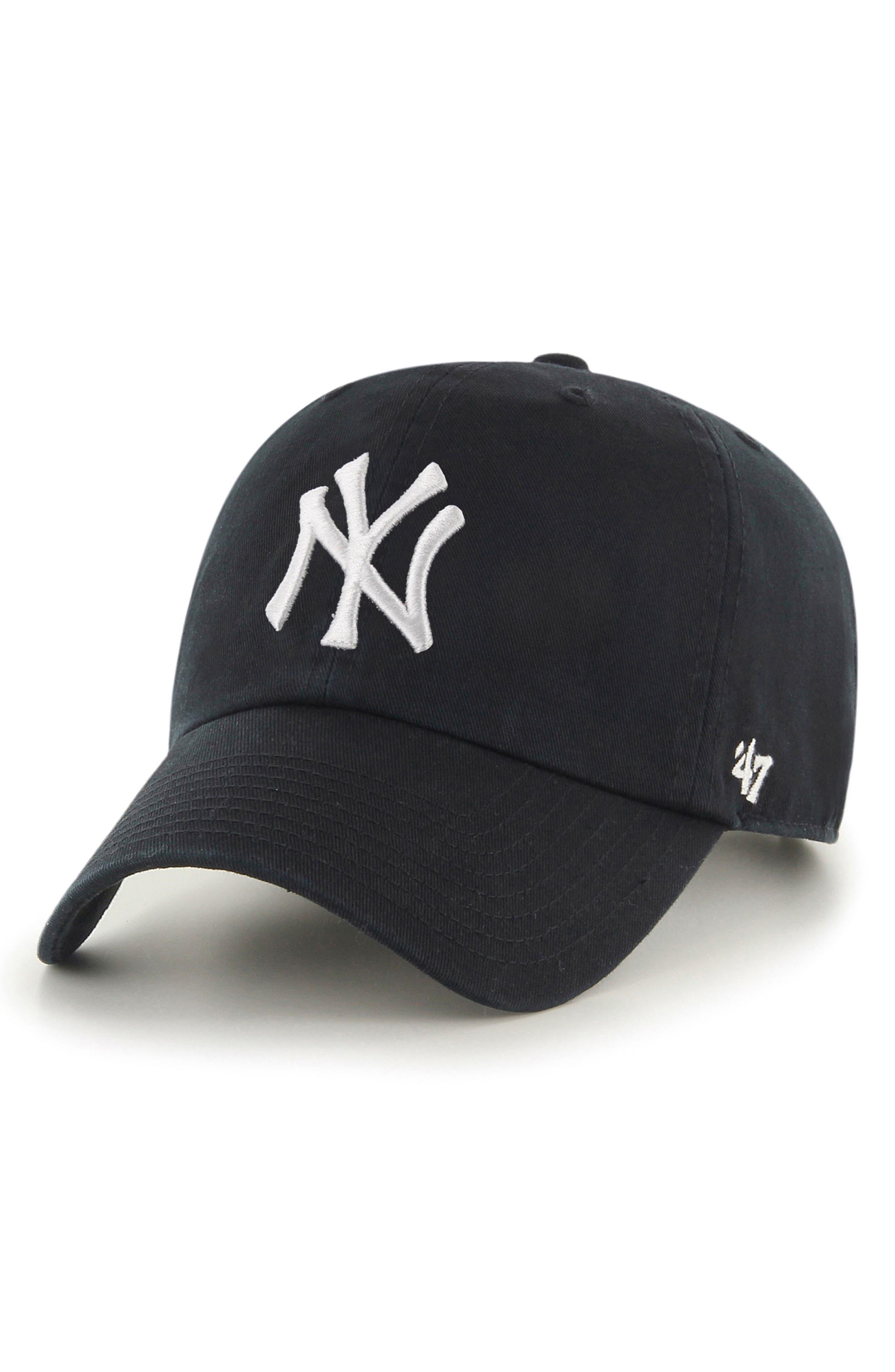 Clean Up NY Yankees Baseball Cap,                             Main thumbnail 1, color,                             BLACK
