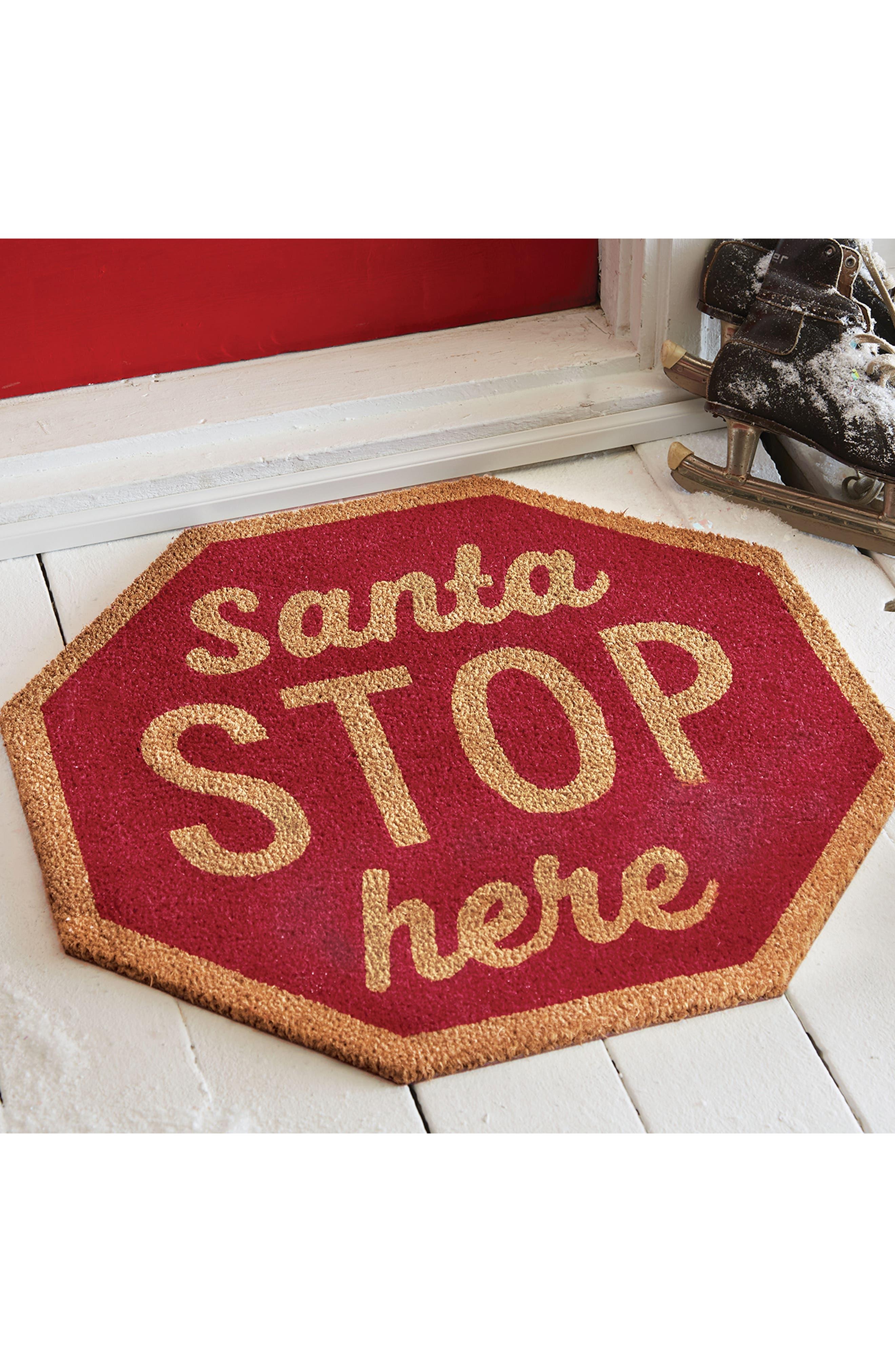 Santa Stop Here Coir Door Mat,                             Alternate thumbnail 2, color,                             600