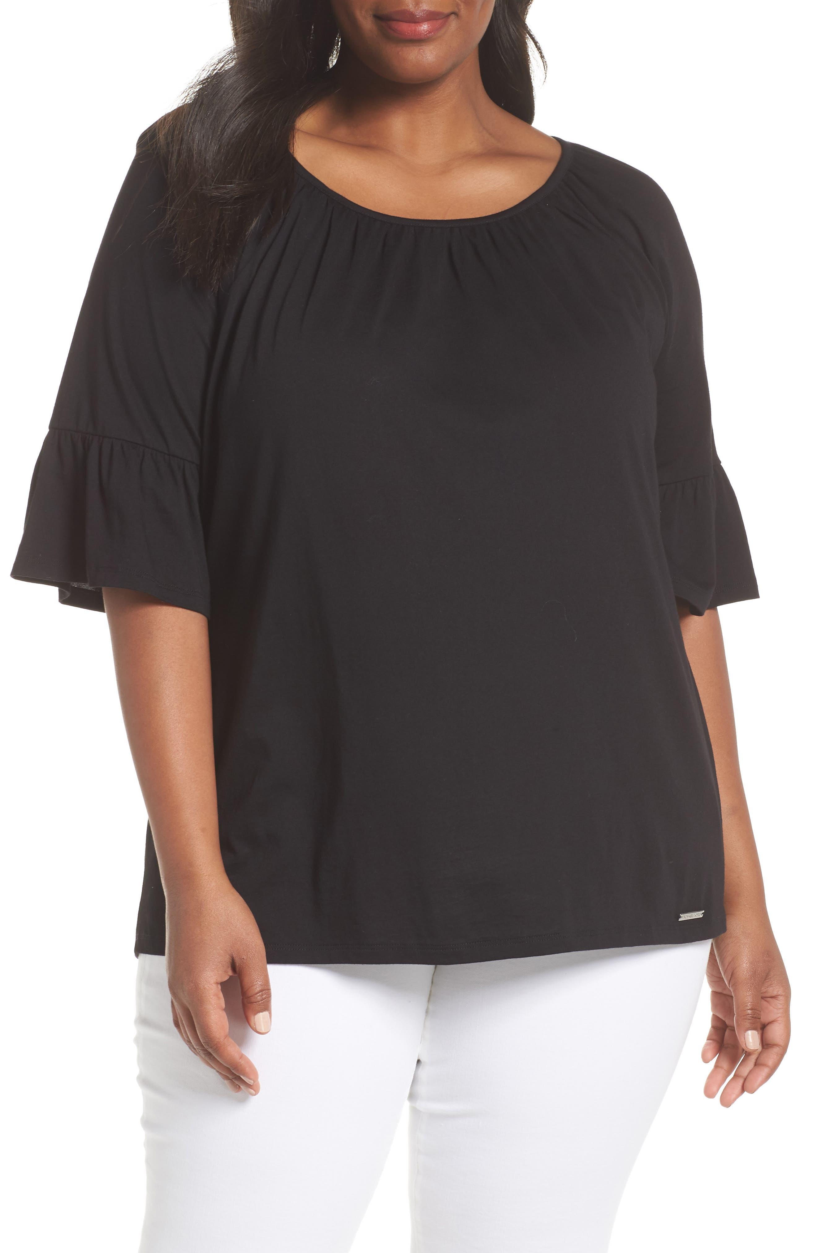 Ruffle Sleeve Top,                         Main,                         color, 001