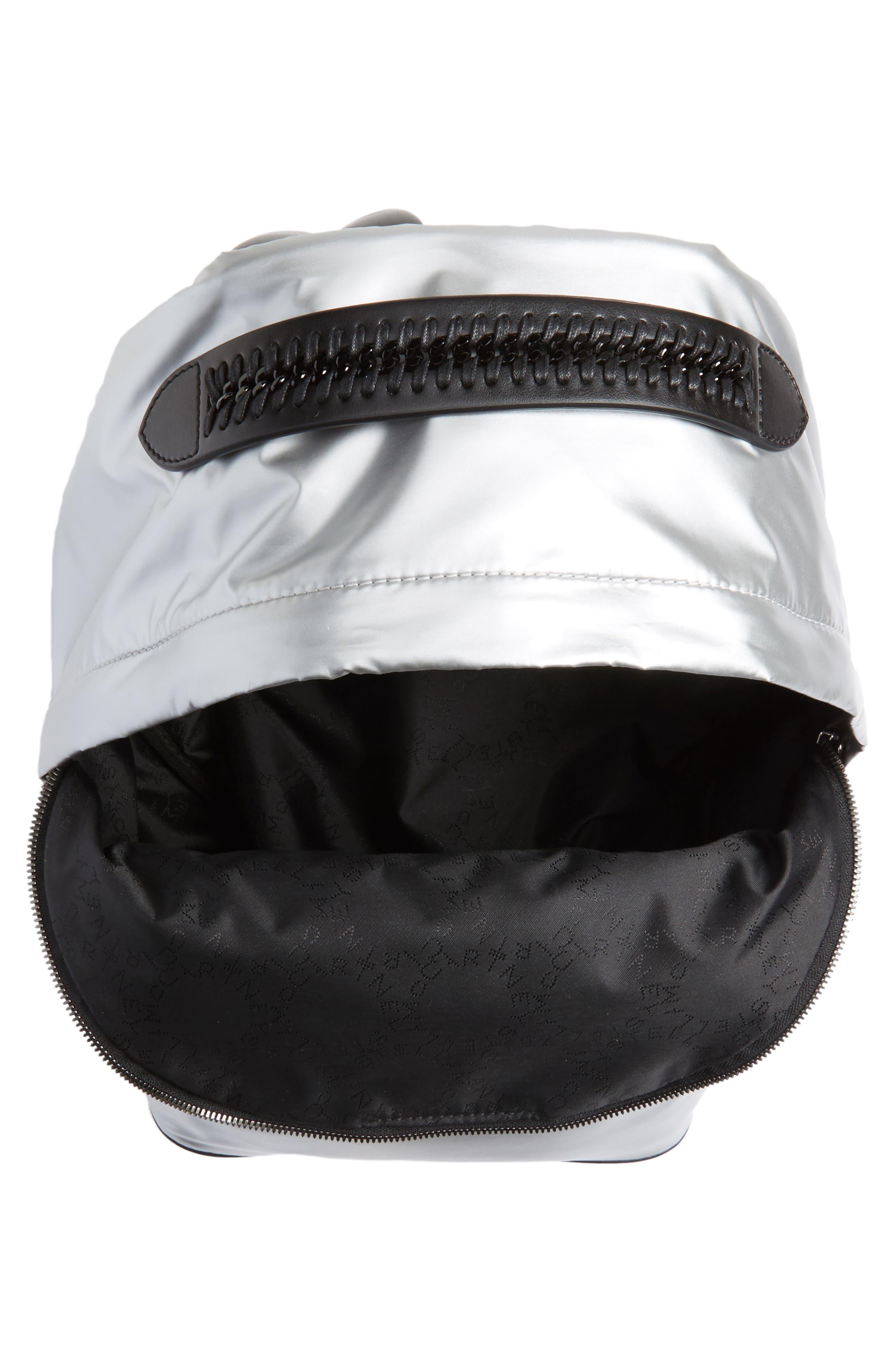 Falabella Metallic Nylon Backpack,                             Alternate thumbnail 4, color,                             045