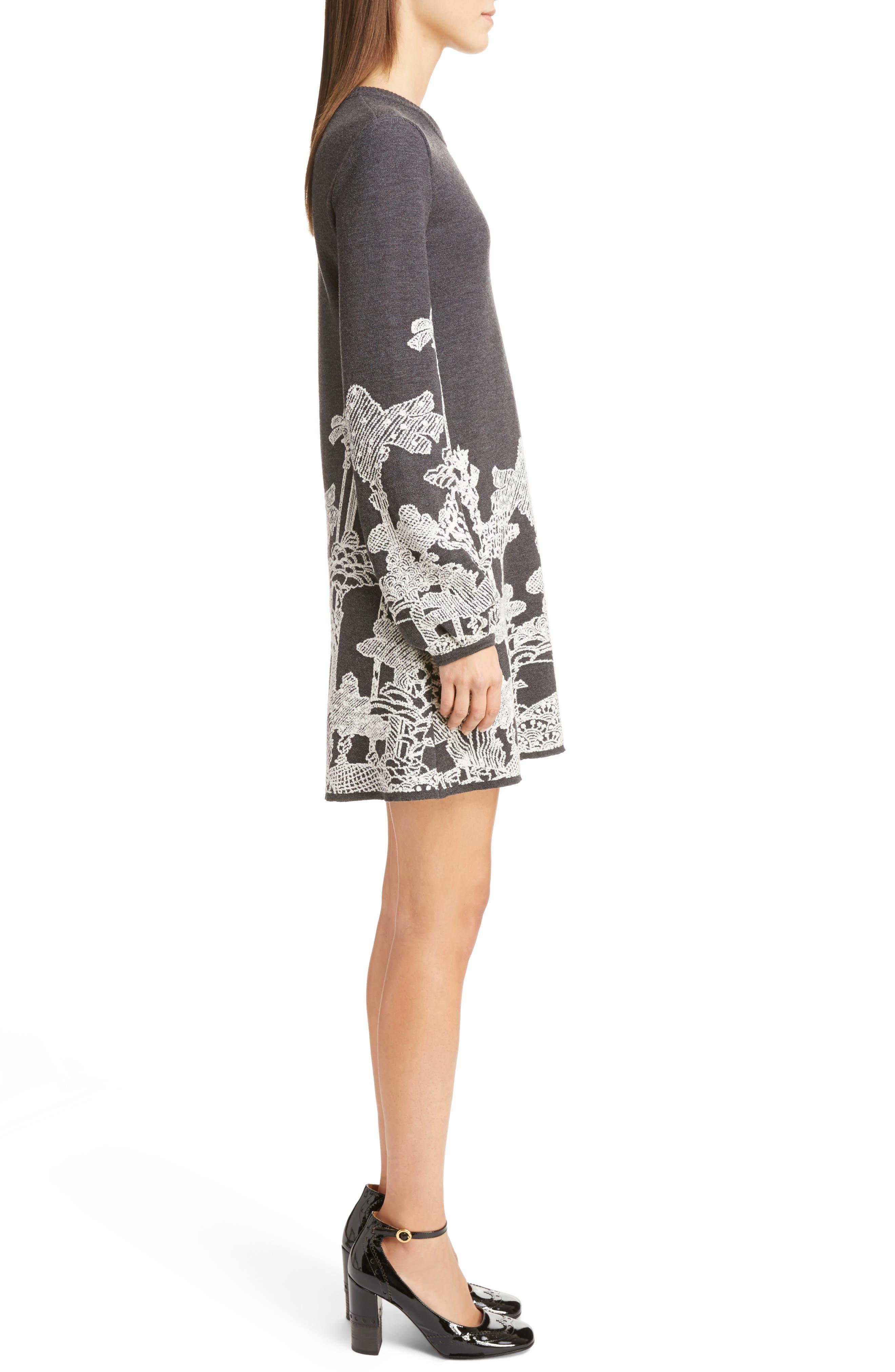 Merino Wool Dreamscape Jacquard Dress,                             Alternate thumbnail 3, color,                             020