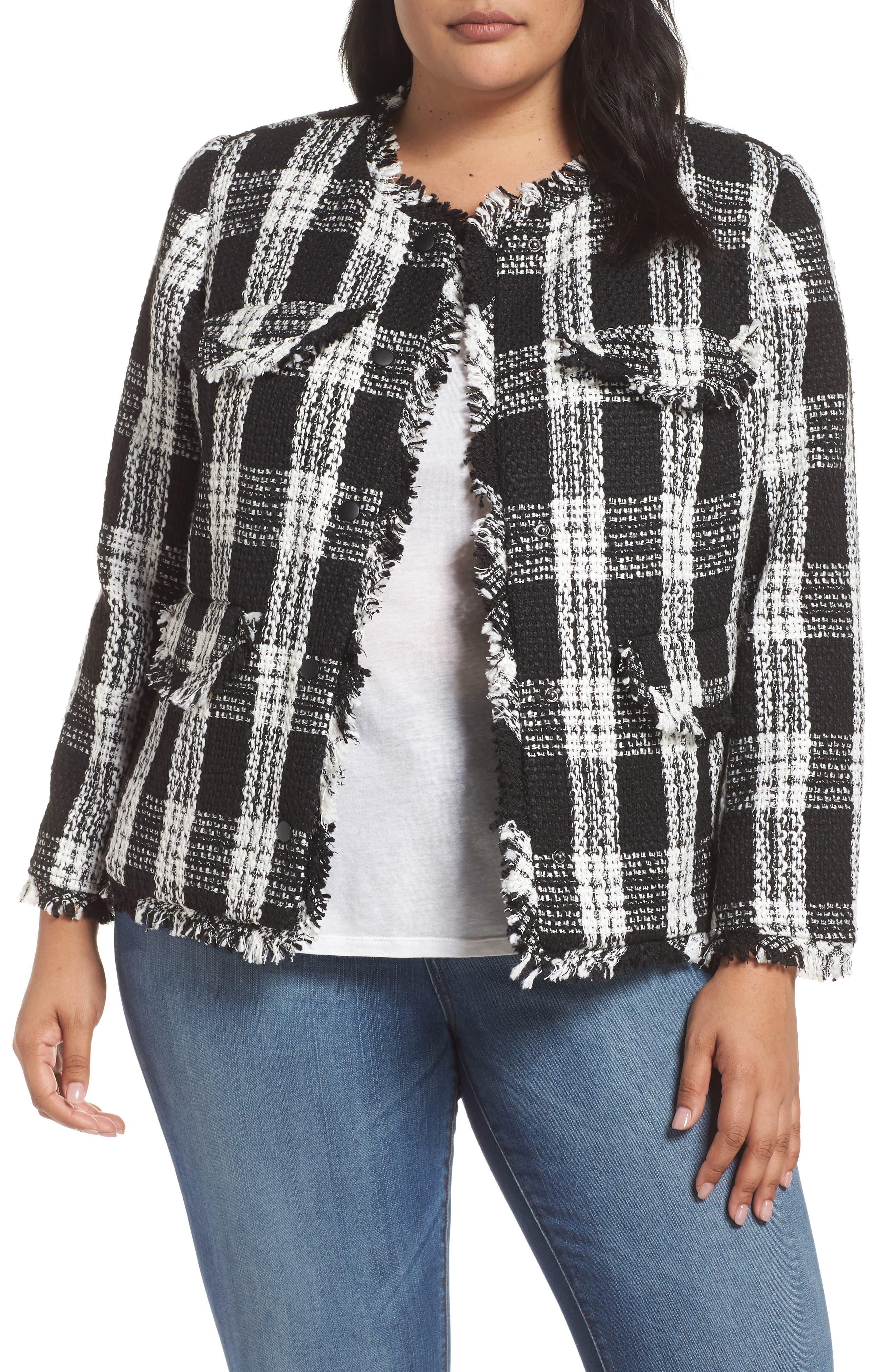 Raw Edge Plaid Tweed Jacket,                             Main thumbnail 1, color,                             001