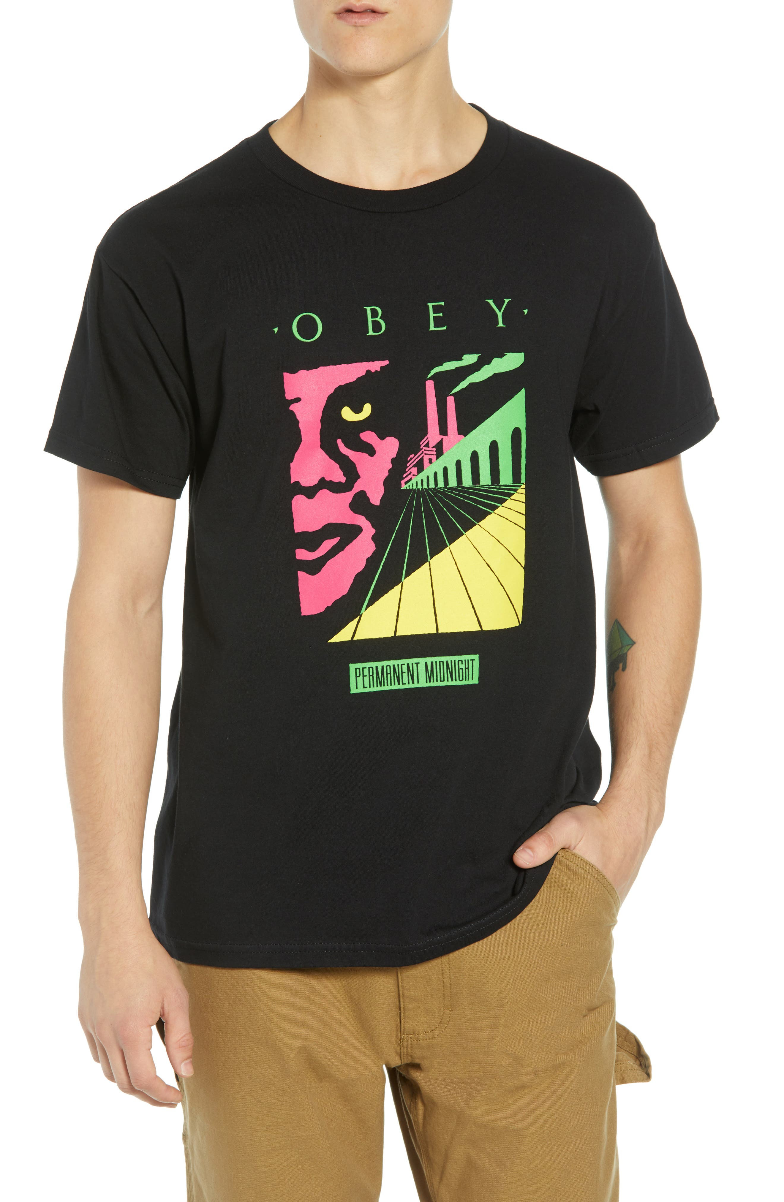 OBEY,                             Permanent Midnight Premium T-Shirt,                             Main thumbnail 1, color,                             001