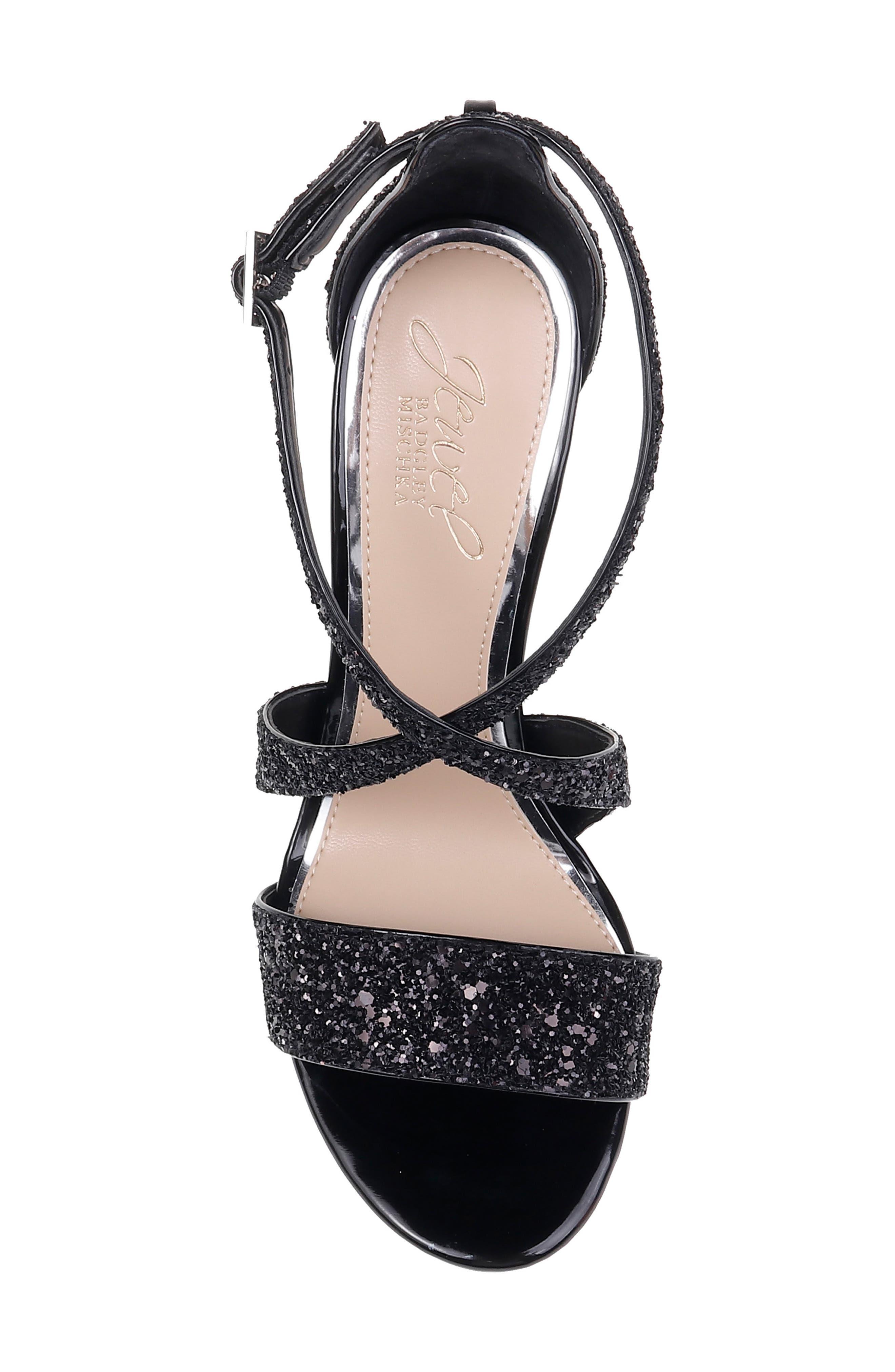 Cook Block Heel Glitter Sandal,                             Alternate thumbnail 5, color,                             BLACK LEATHER