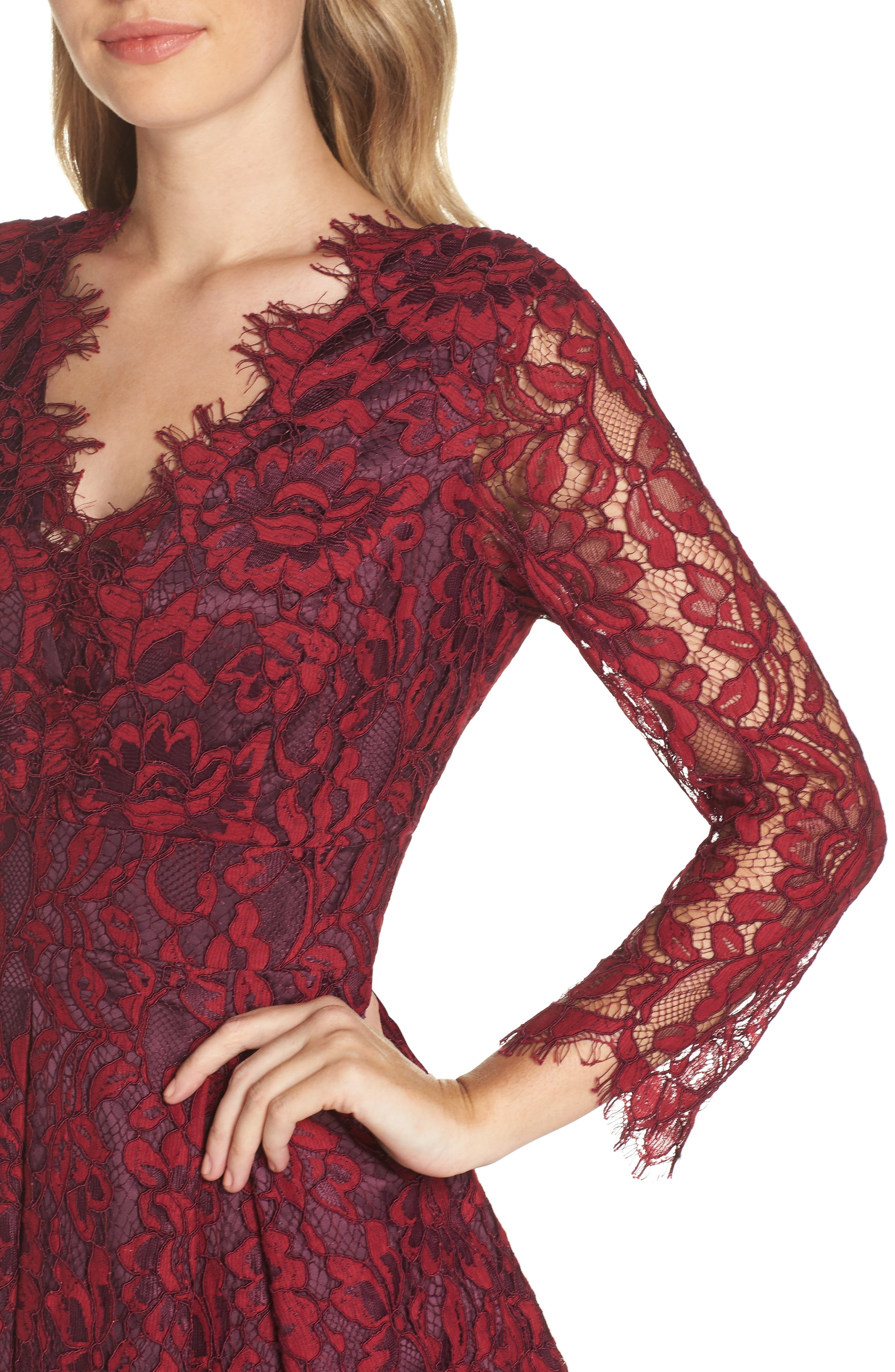 Lace V-Neck Fit & Flare Dress,                             Alternate thumbnail 4, color,                             RED