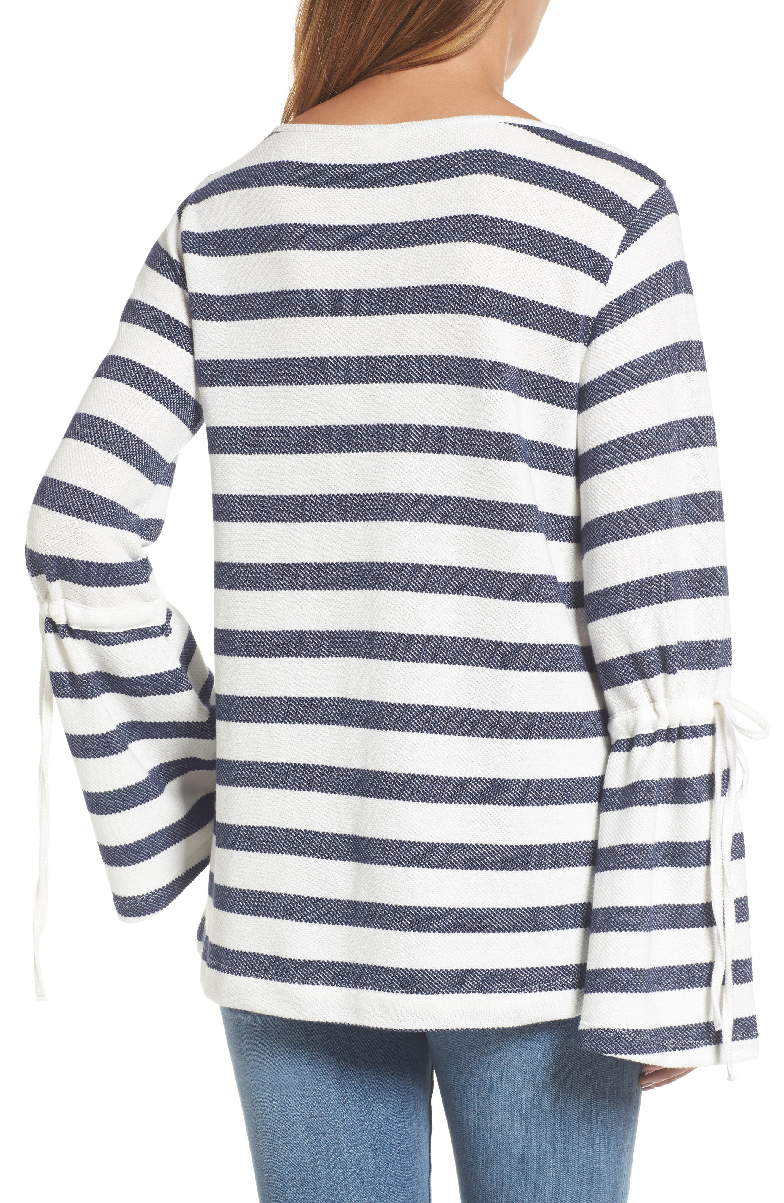 Stripe Bell Sleeve Top,                             Alternate thumbnail 2, color,                             410