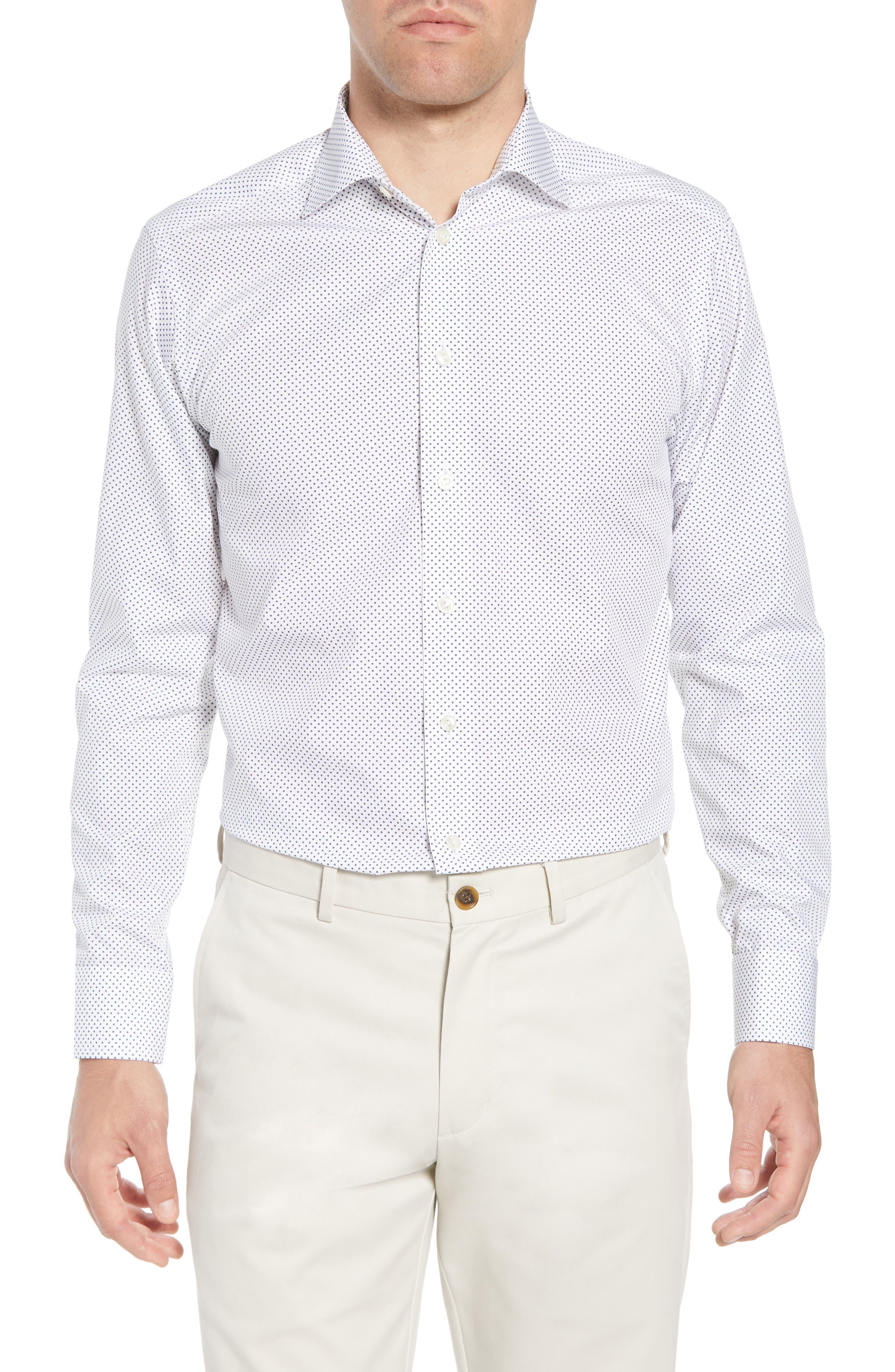 Slim Fit Dot Dress Shirt,                             Main thumbnail 1, color,                             100