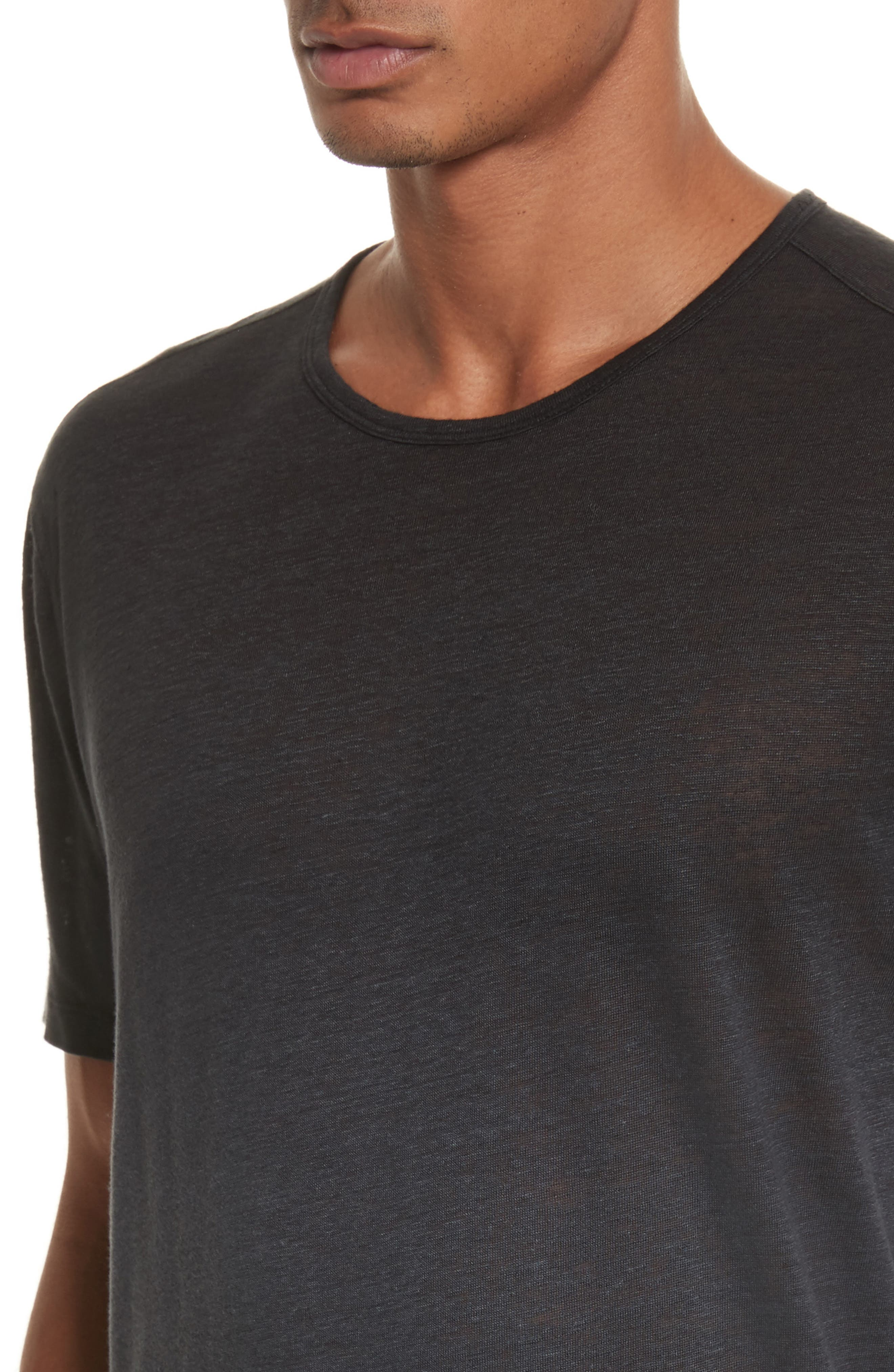 Dip Dyed Linen T-Shirt,                             Alternate thumbnail 4, color,                             001