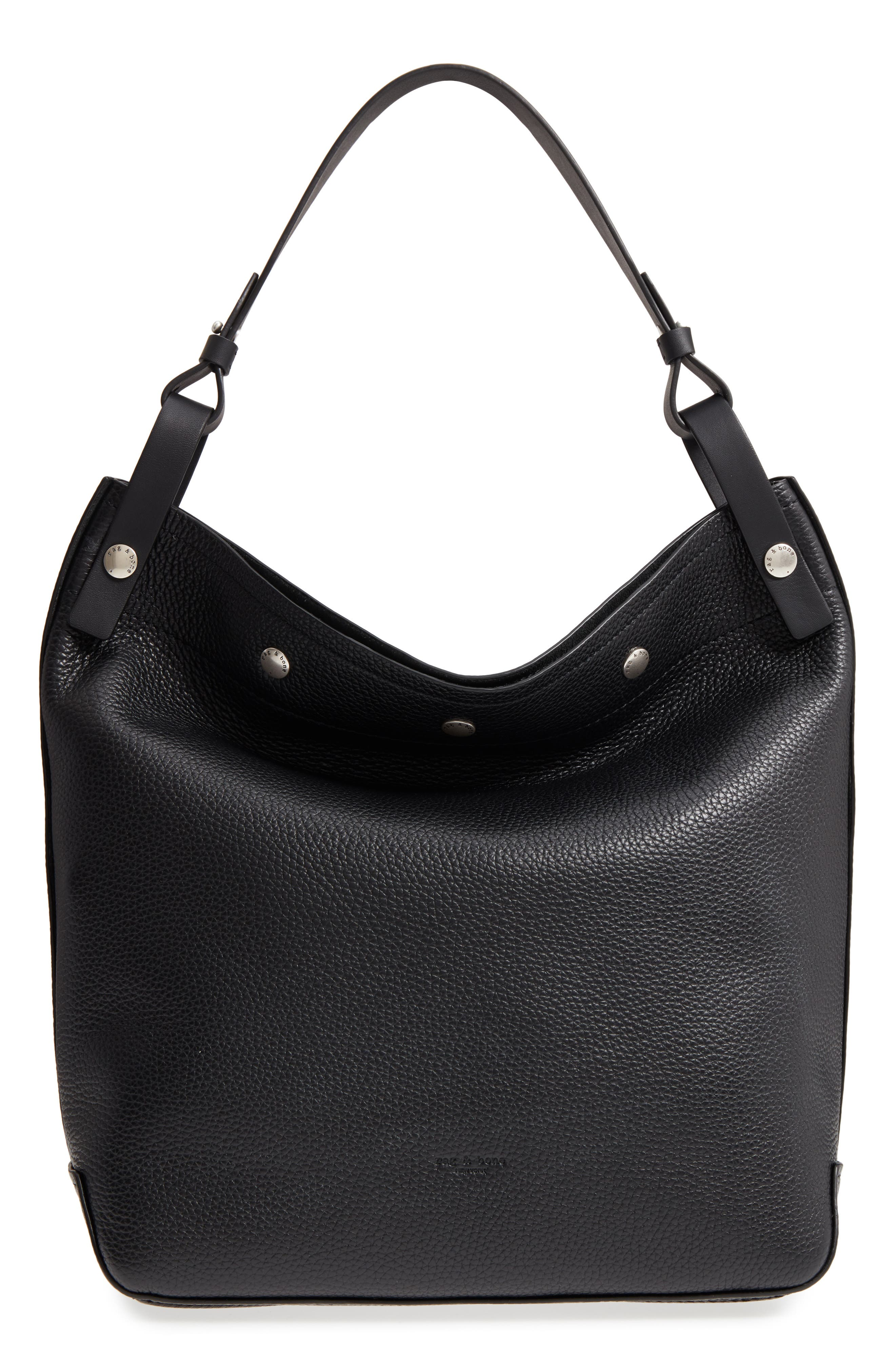 Compass Snap Hobo,                         Main,                         color, BLACK