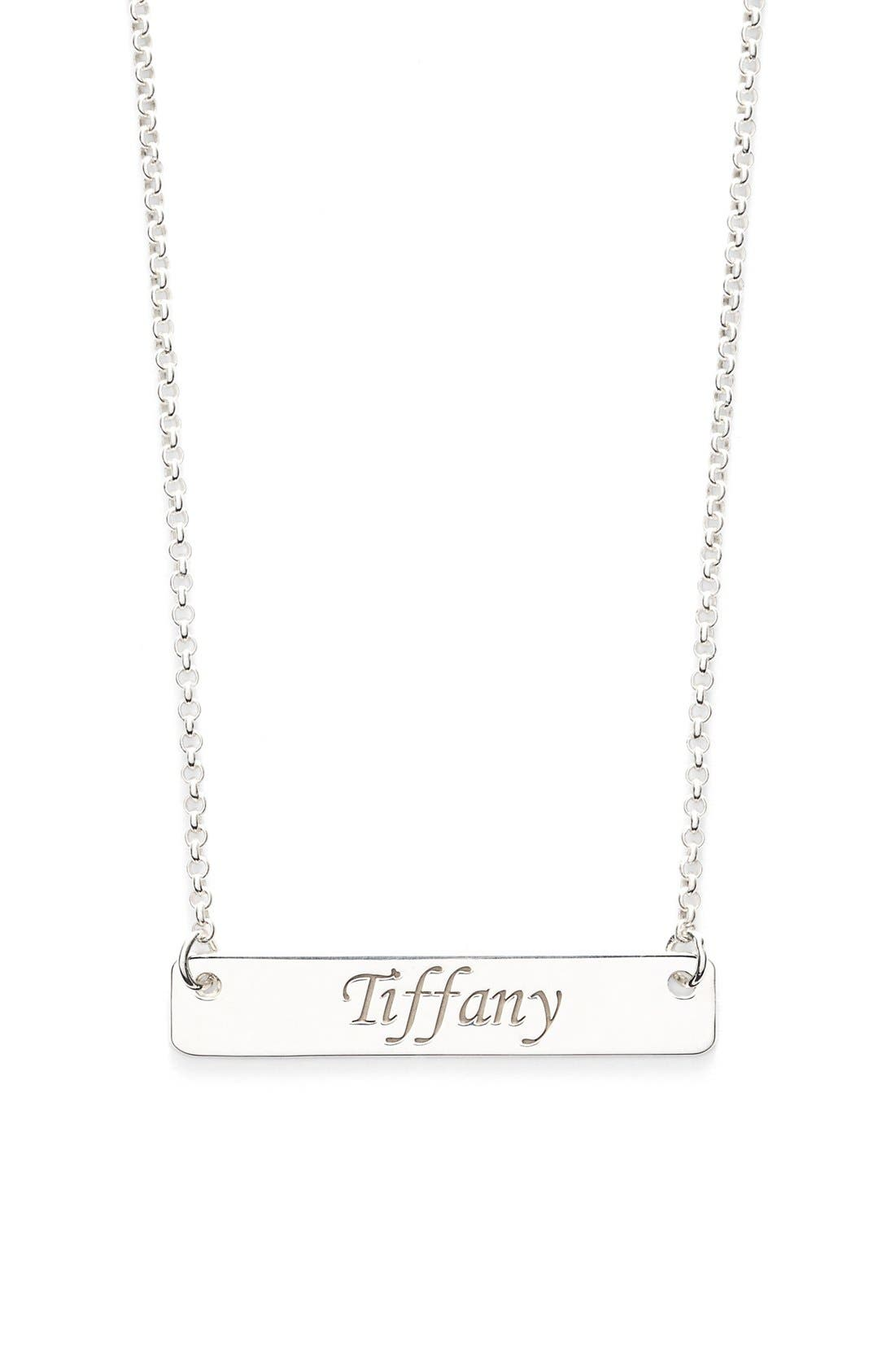 Personalized Script Bar Pendant Necklace,                             Main thumbnail 1, color,                             040