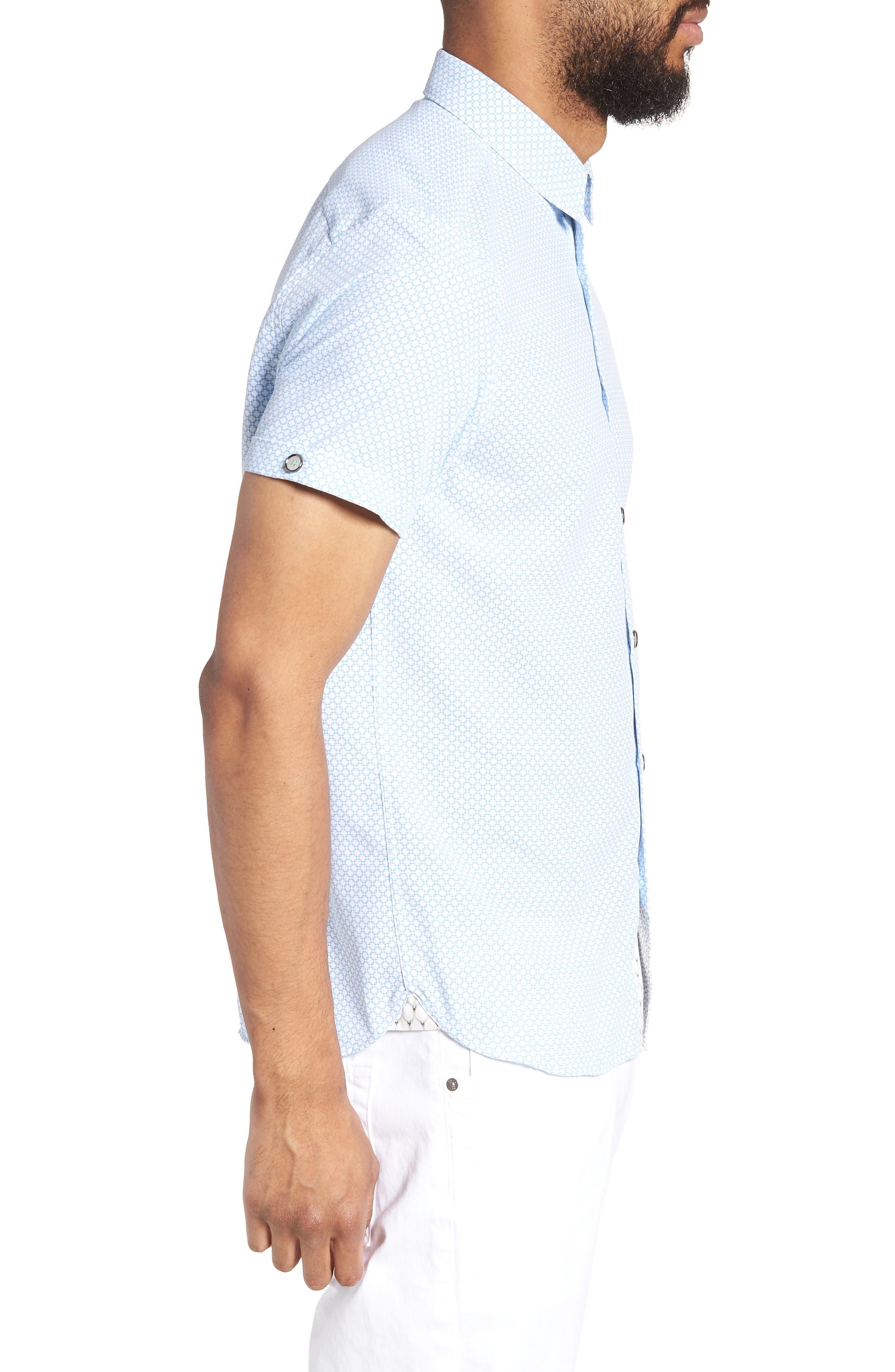 Slim Fit Short Sleeve Sport Shirt,                             Alternate thumbnail 3, color,                             WHITE