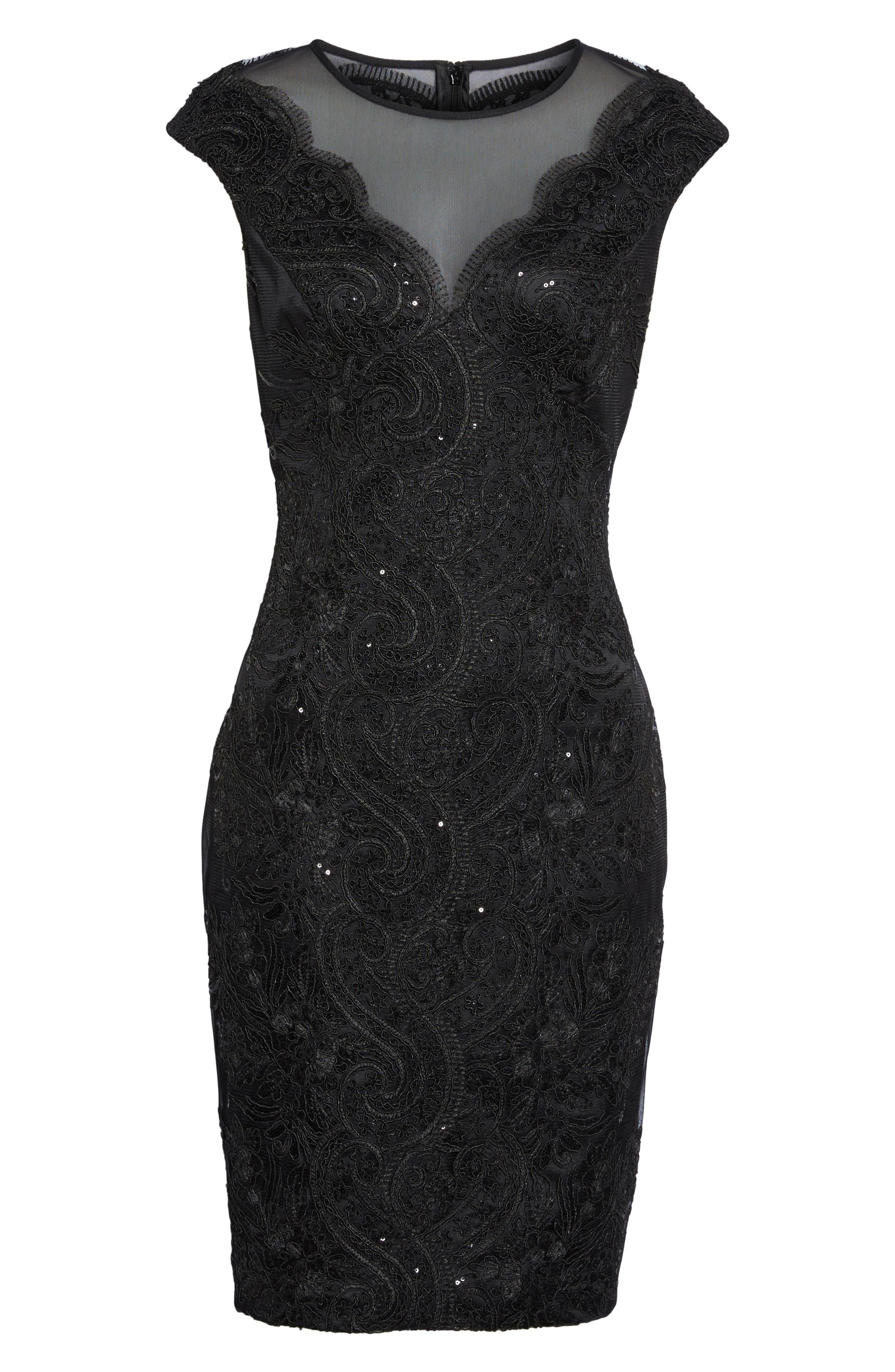 Illusion Neck Lace Sheath Dress,                             Alternate thumbnail 6, color,                             001