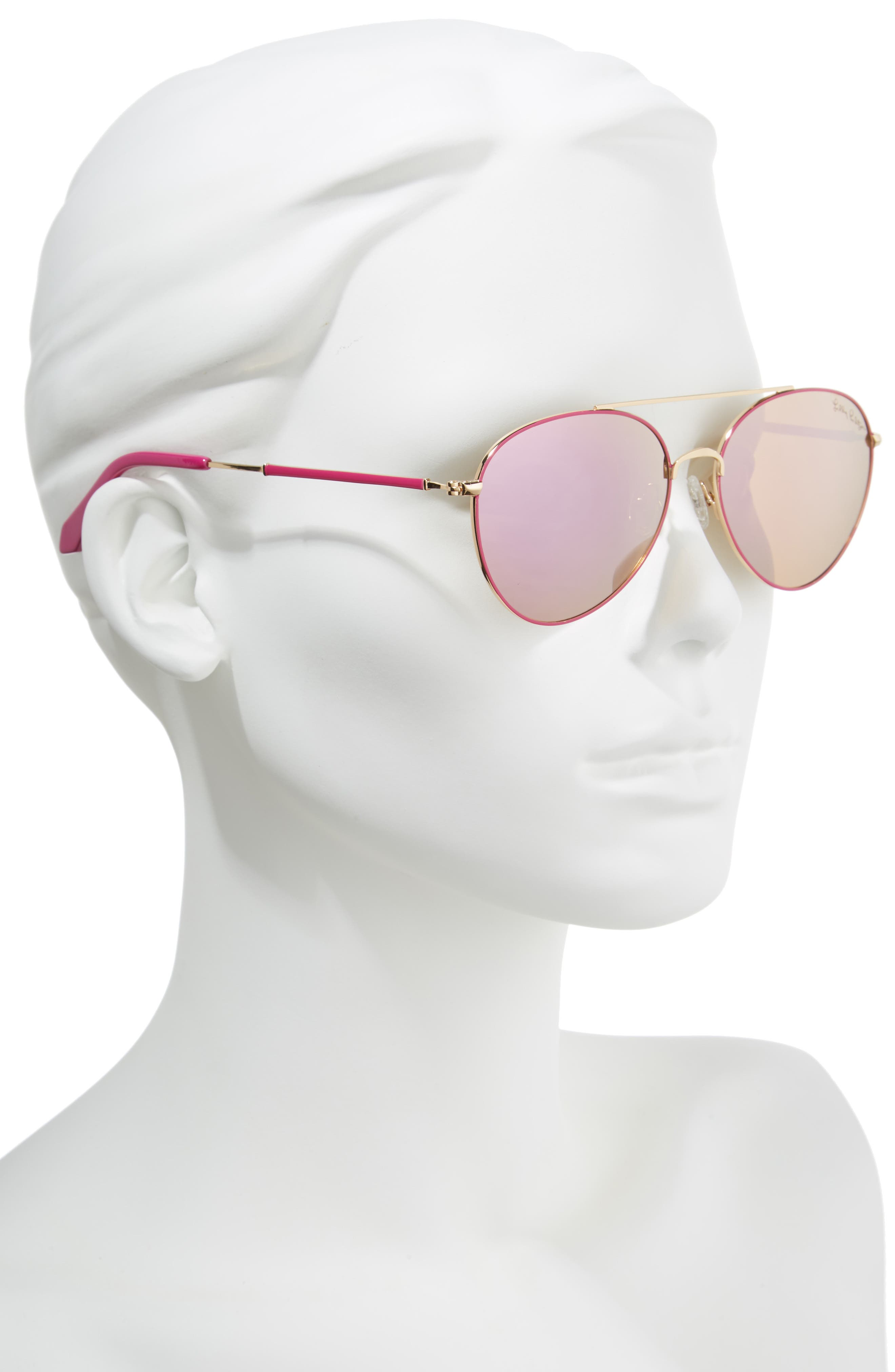 Isabelle 56mm Polarized Metal Aviator Sunglasses,                             Alternate thumbnail 2, color,                             PINK/ PINK