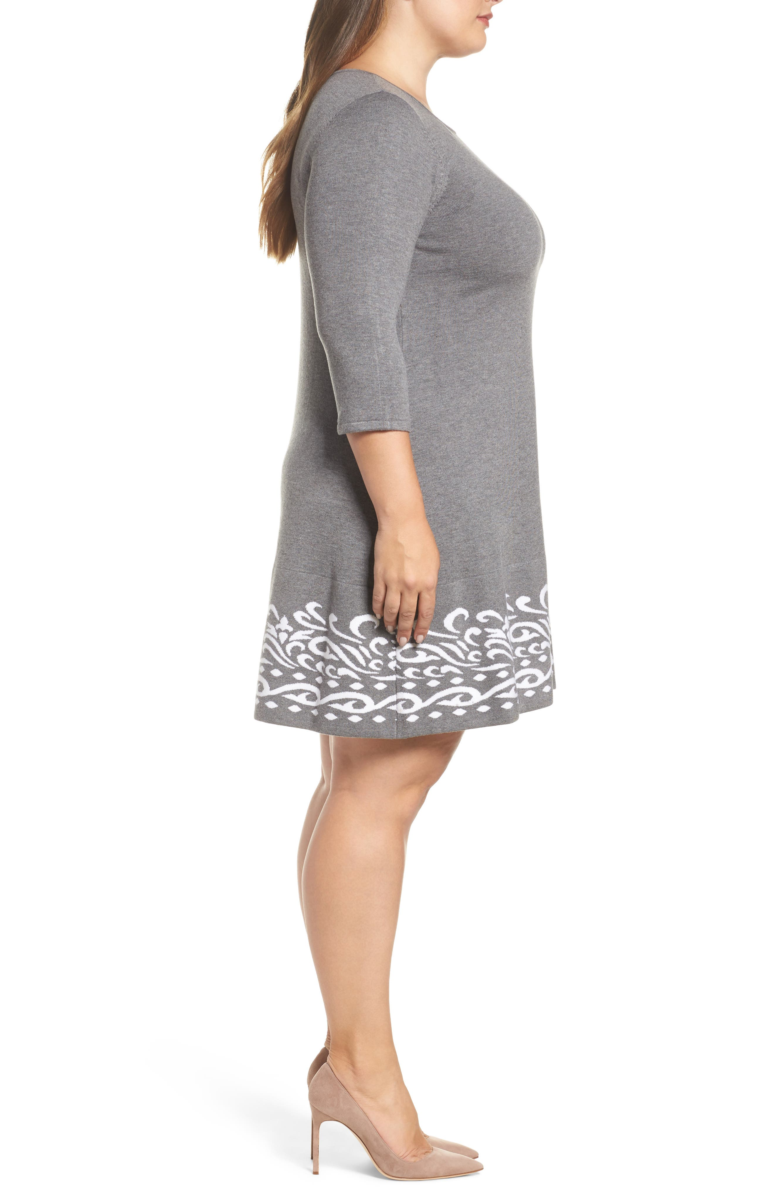 A-Line Sweater Dress,                             Alternate thumbnail 3, color,                             021