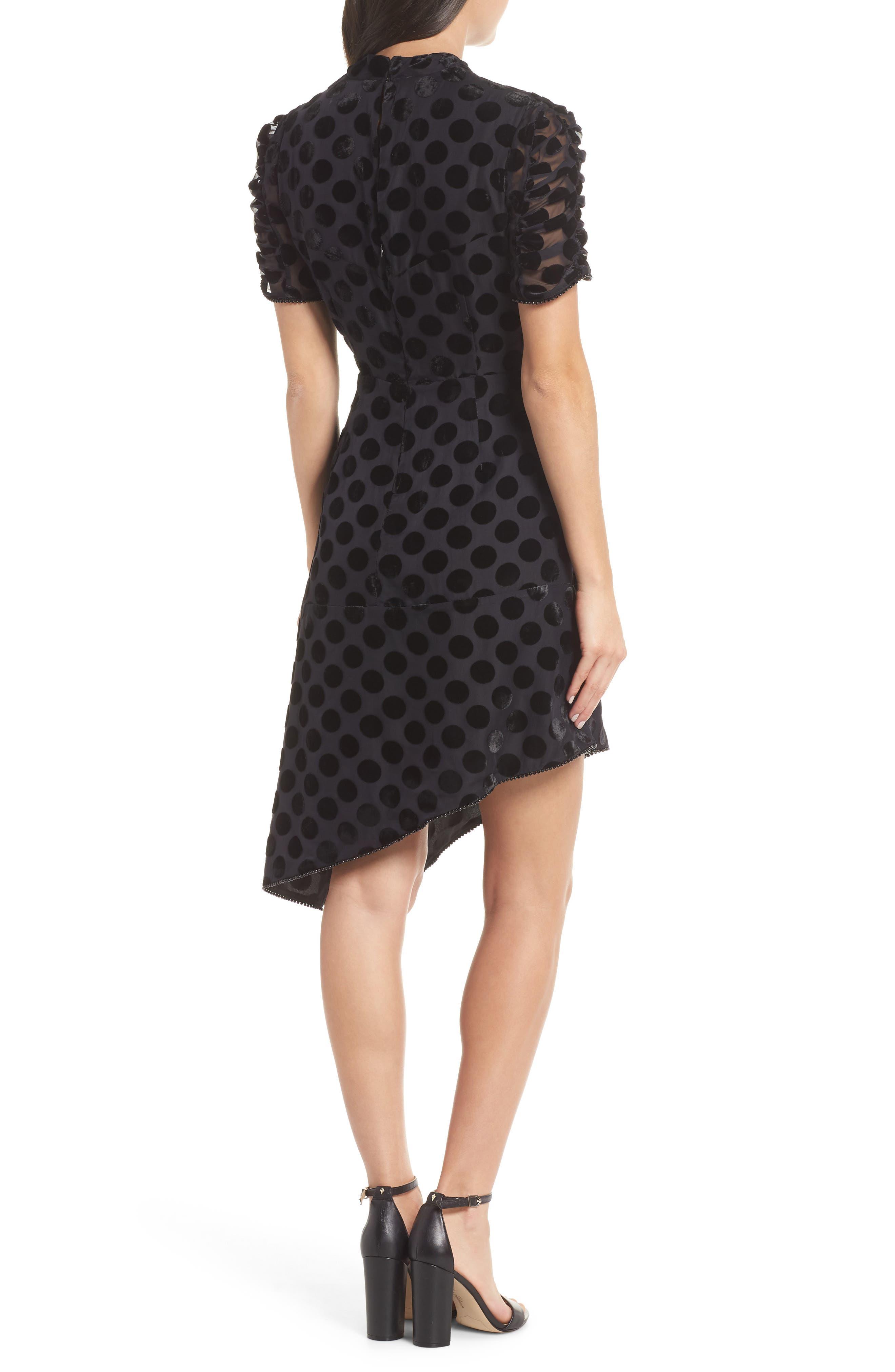 Asymmetrical Velvet Dot Dress,                             Alternate thumbnail 2, color,                             BLACK