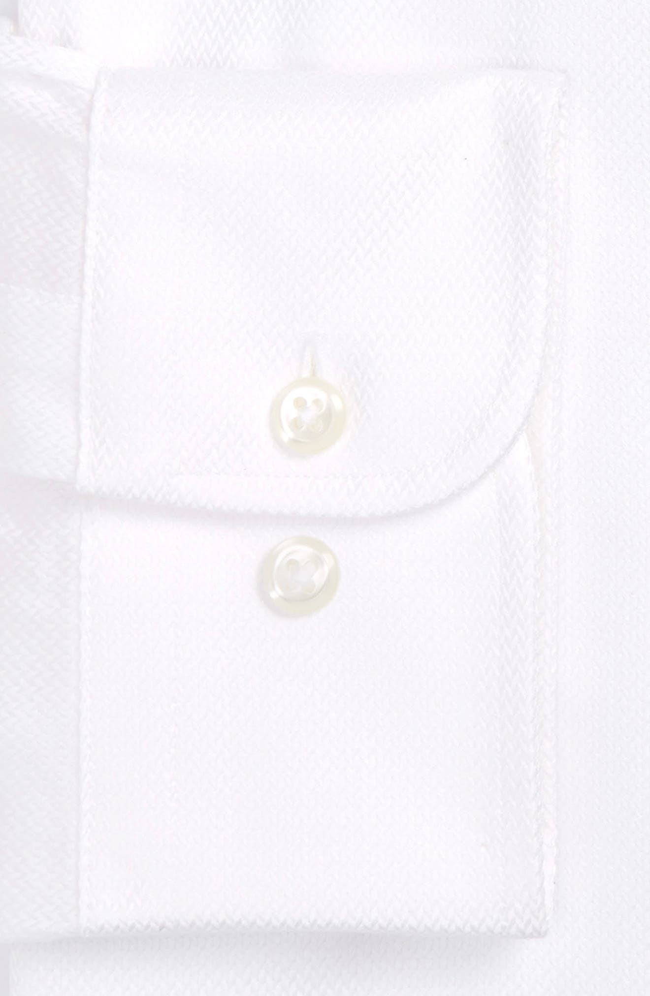 Trim Fit Microgrid Dress Shirt,                         Main,                         color, WHITE