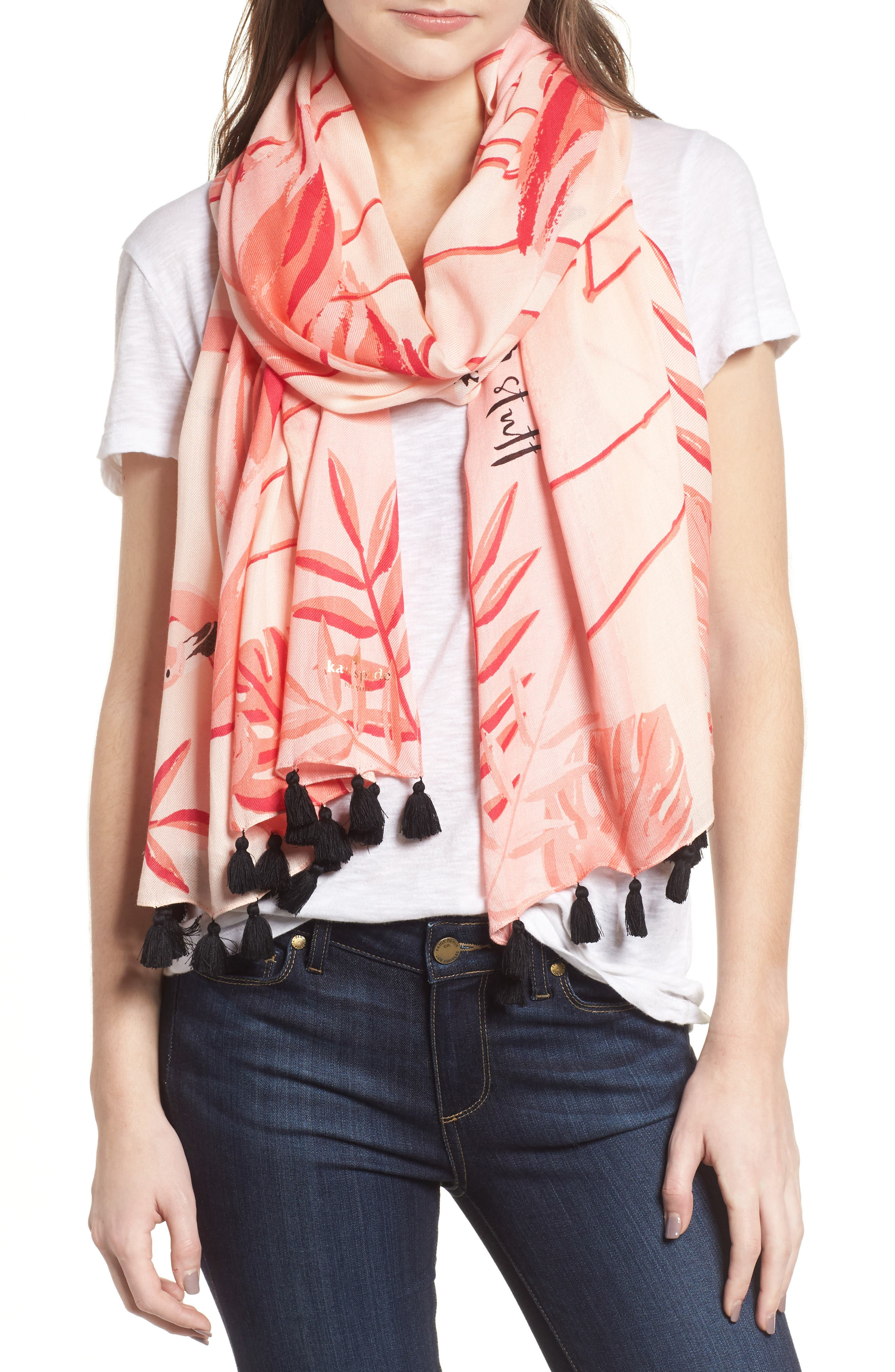 flamingo scarf,                             Main thumbnail 1, color,                             APRICOT SORBET