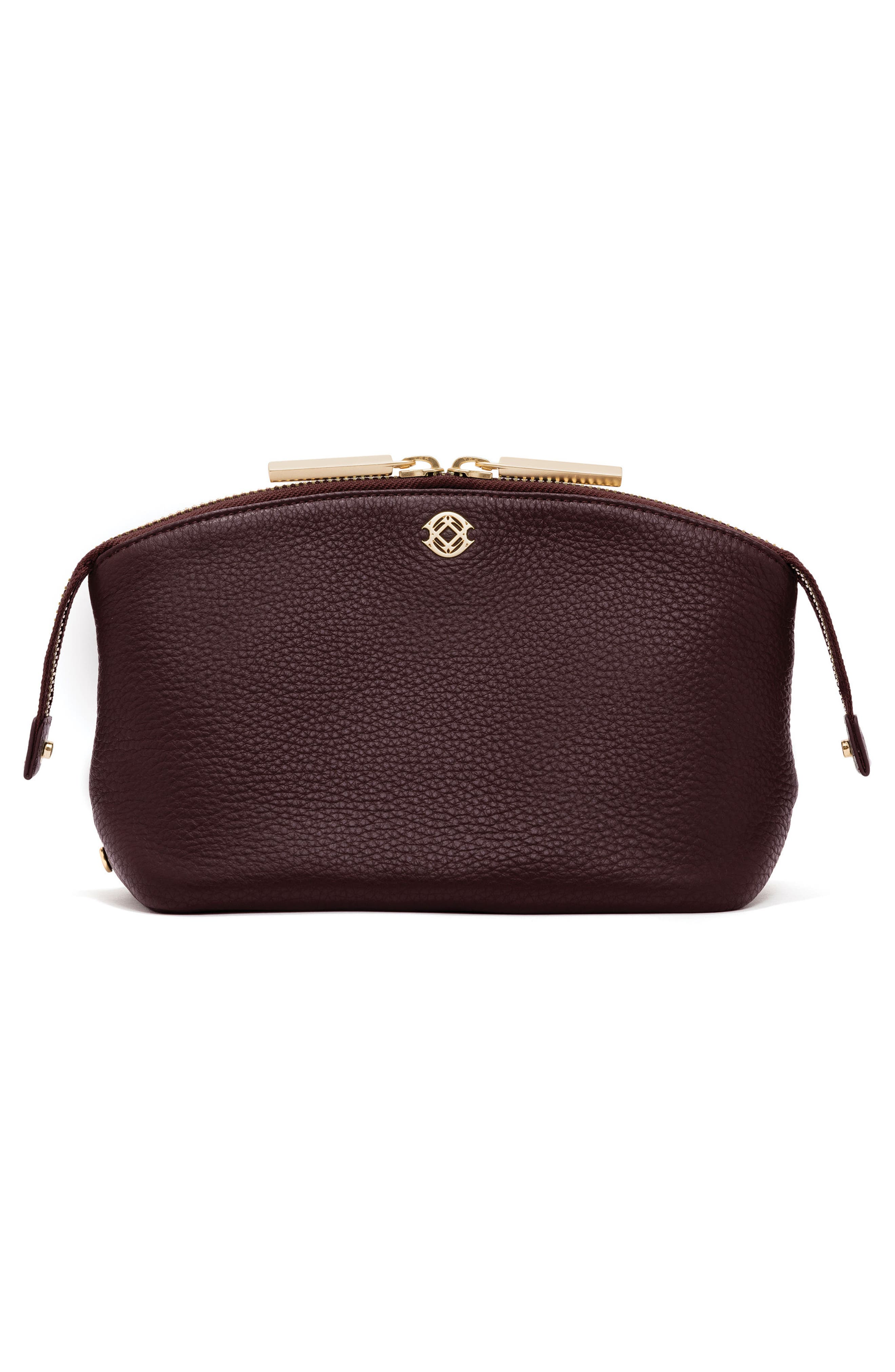 Large Lola Leather Cosmetics Pouch,                             Alternate thumbnail 2, color,                             OXBLOOD