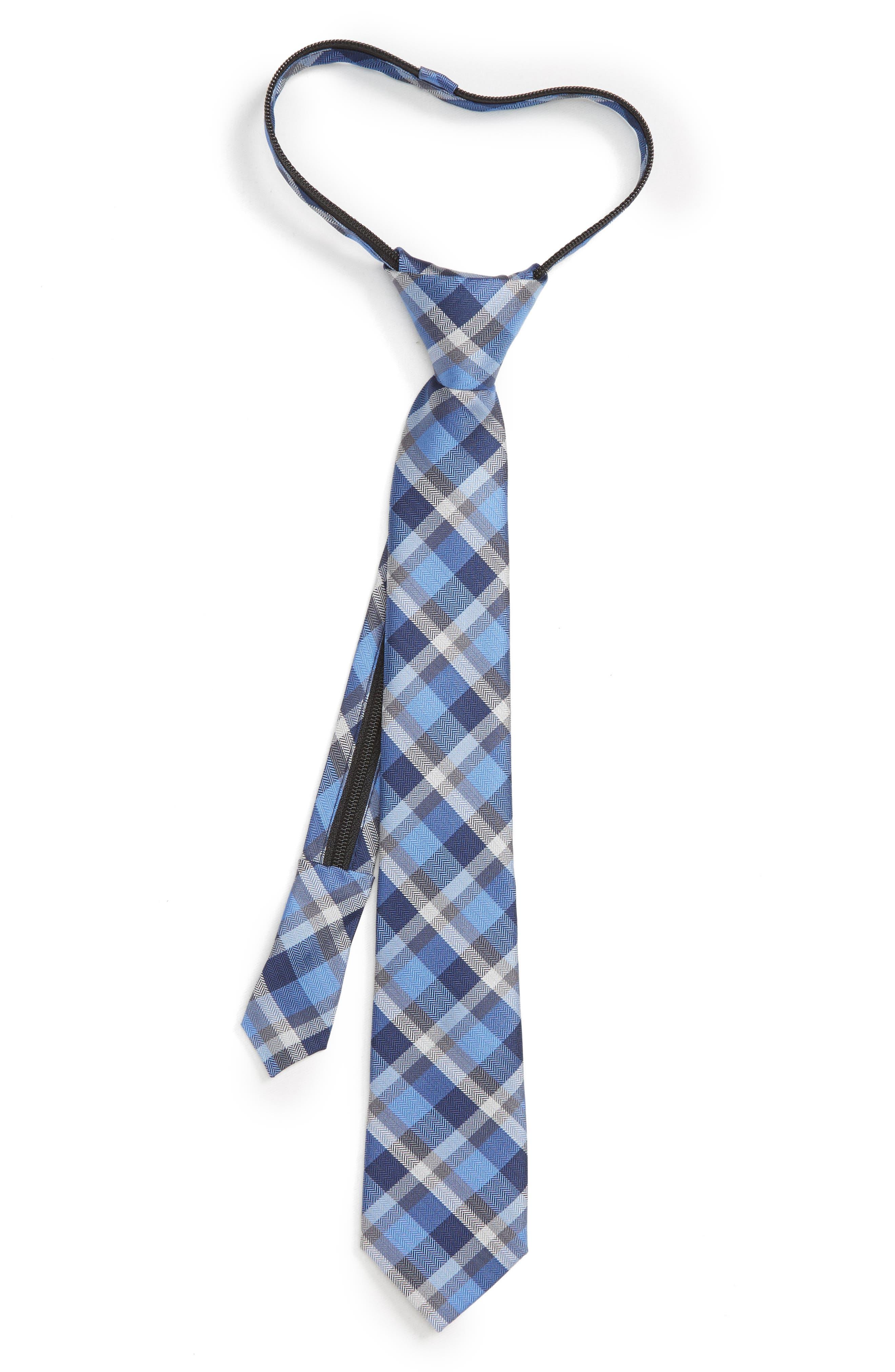 Plaid Silk Blend Zip Tie,                         Main,                         color, 410