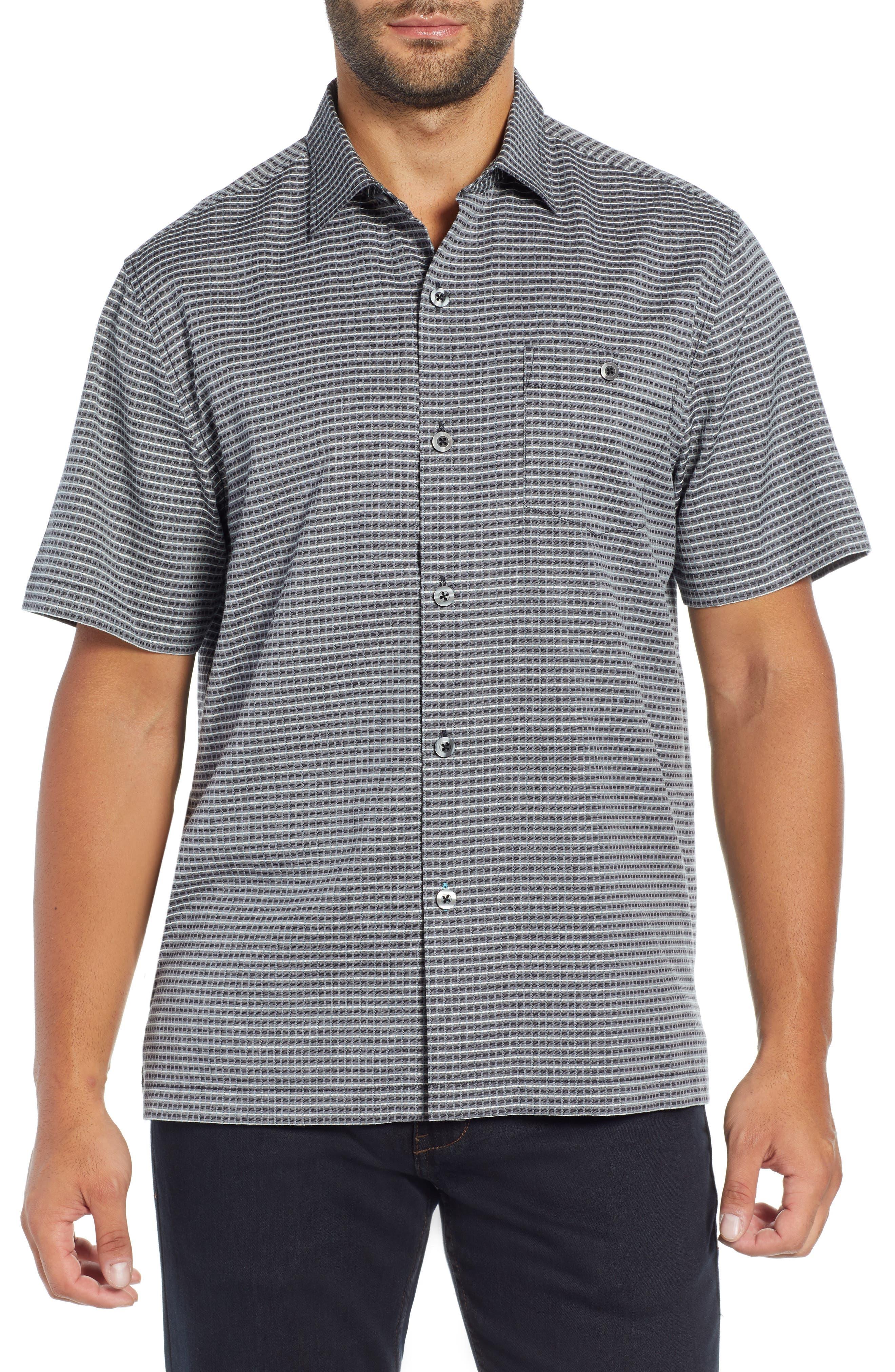 Check-in-the-Tropics Silk Blend Camp Shirt,                             Main thumbnail 1, color,                             BLACK