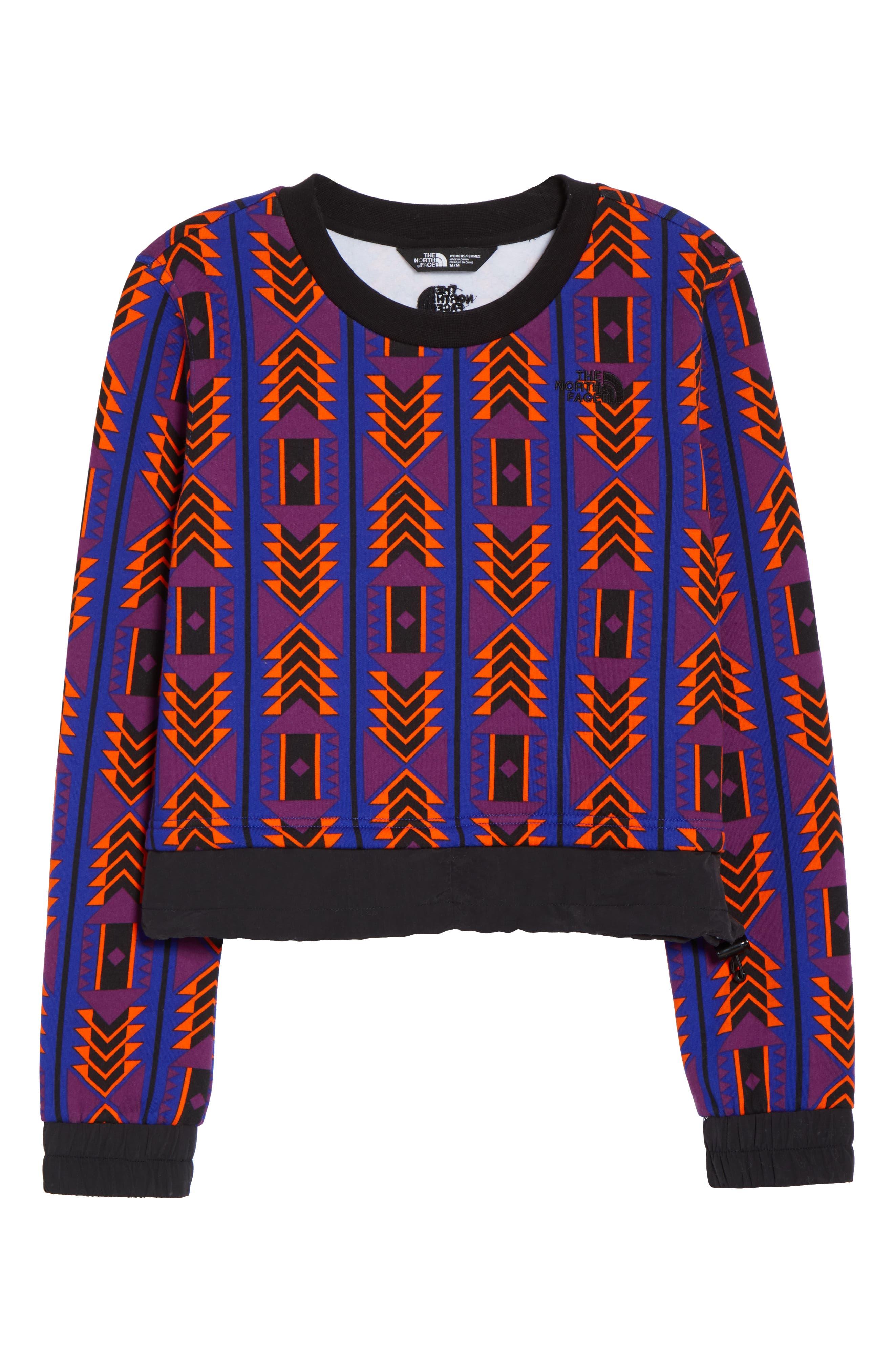 92 Rage Crop Fleece Sweatshirt,                             Alternate thumbnail 7, color,                             AZTEC BLUE 1992 RAGE PRINT