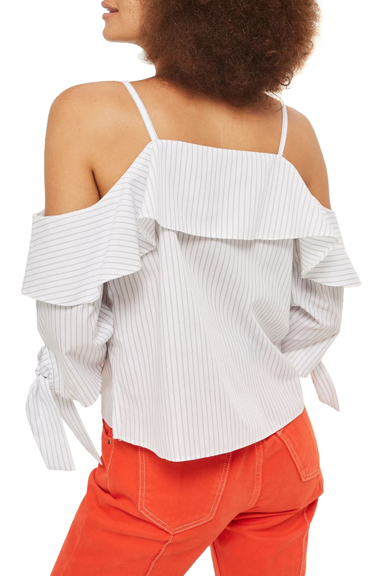 Stripe Cold Shoulder Blouse,                             Alternate thumbnail 2, color,                             020