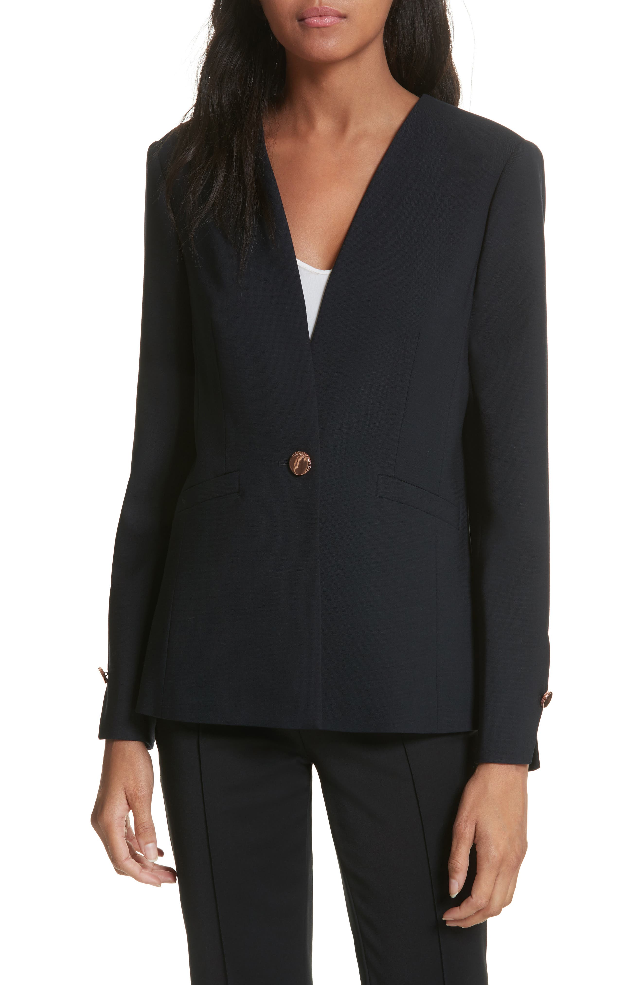 TED BAKER LONDON,                             Ted Working Title Collarless Stretch Wool Jacket,                             Main thumbnail 1, color,                             410