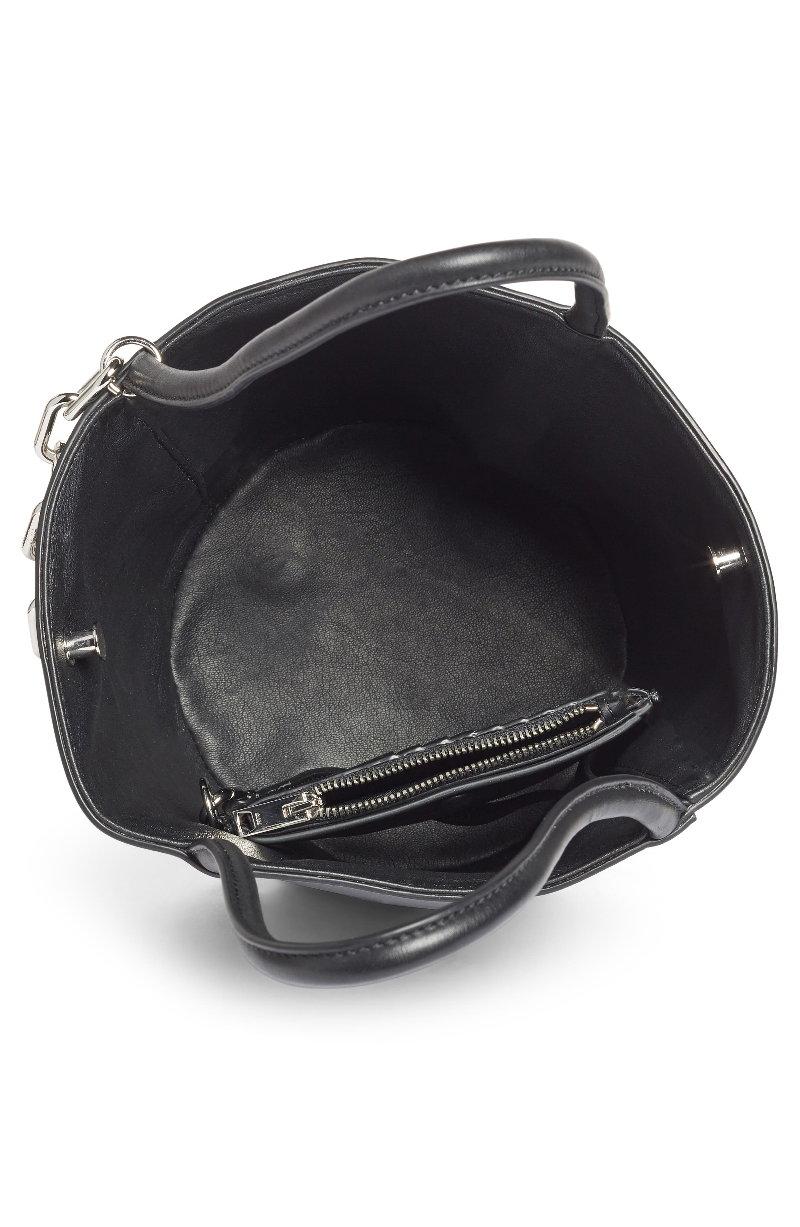 Roxy Leather Bucket Bag,                             Alternate thumbnail 4, color,
