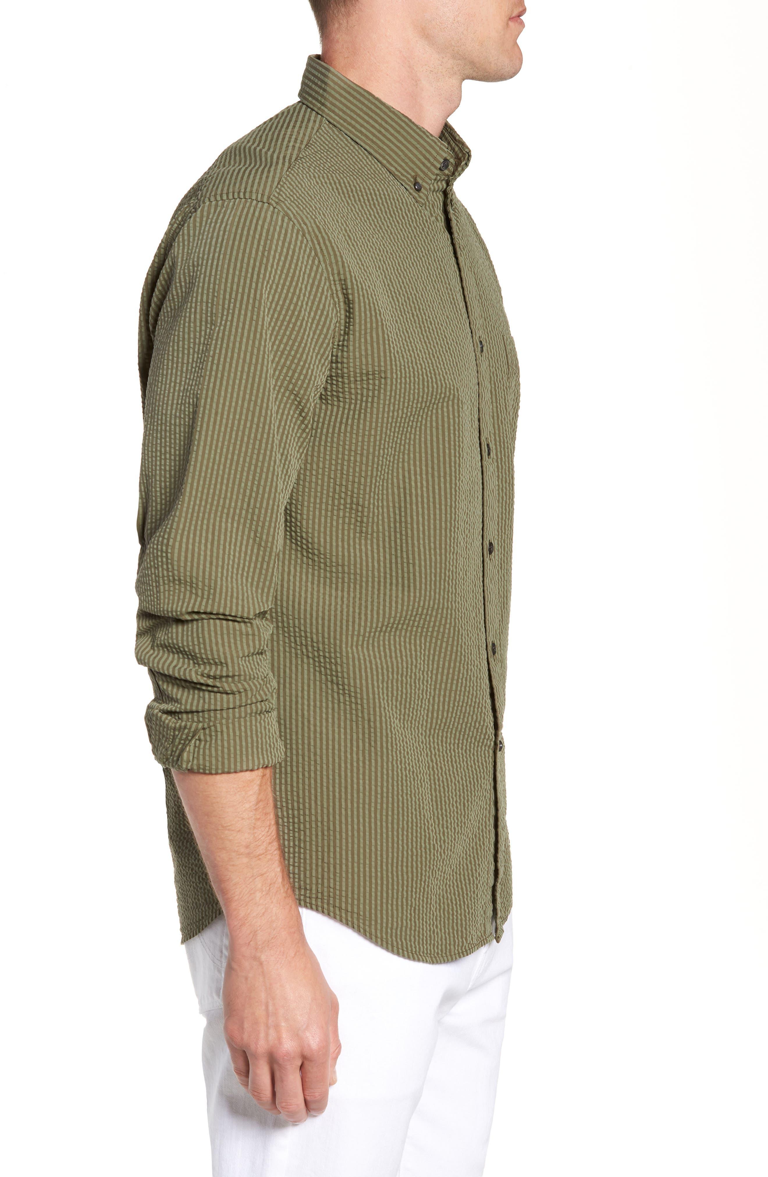 Slim Fit Stripe Seersucker Sport Shirt,                             Alternate thumbnail 3, color,                             SURPLUS WX2234