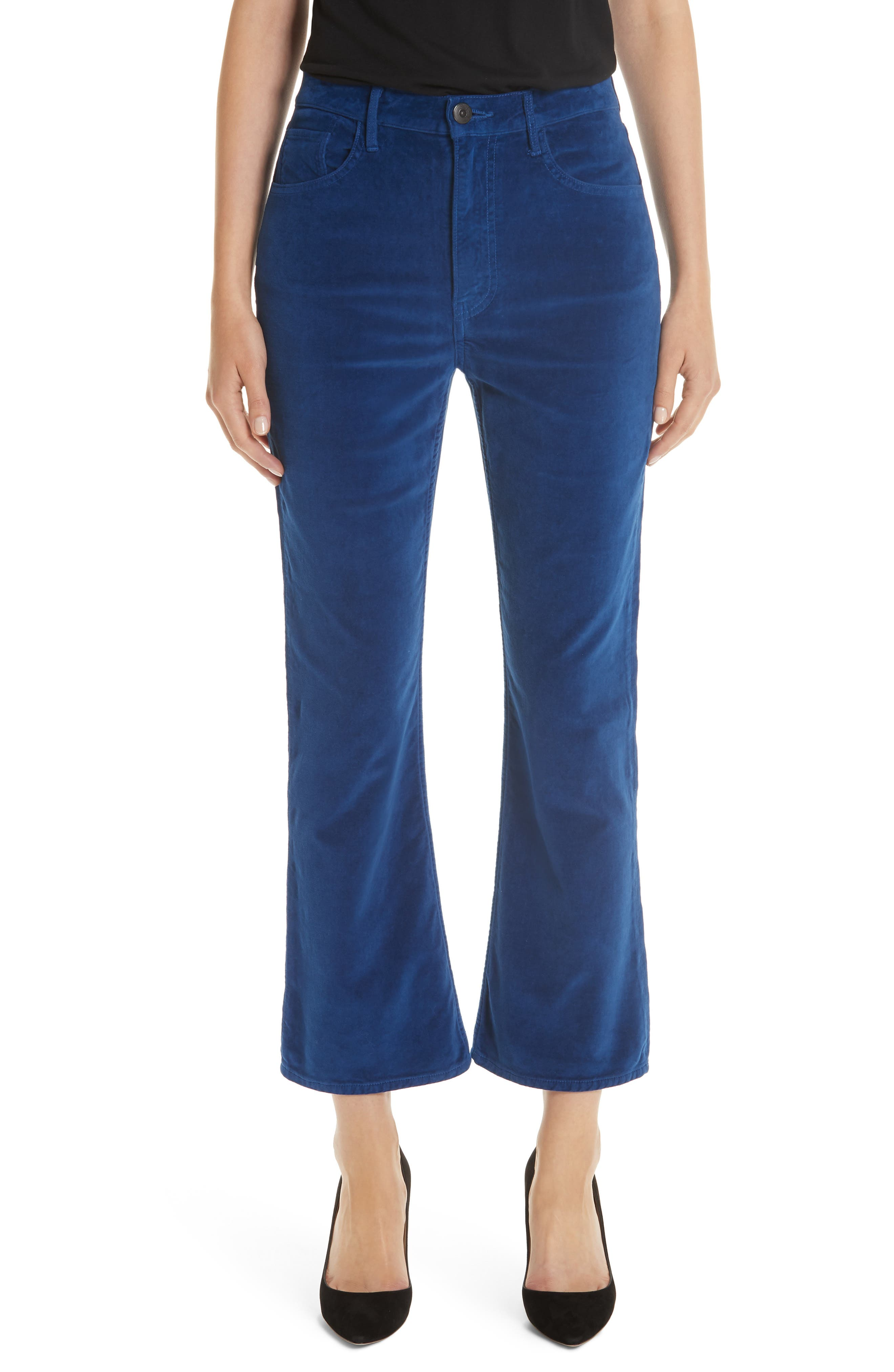 3X1 Nyc Empire Velvet Crop Flare Pants, 3 - Blue