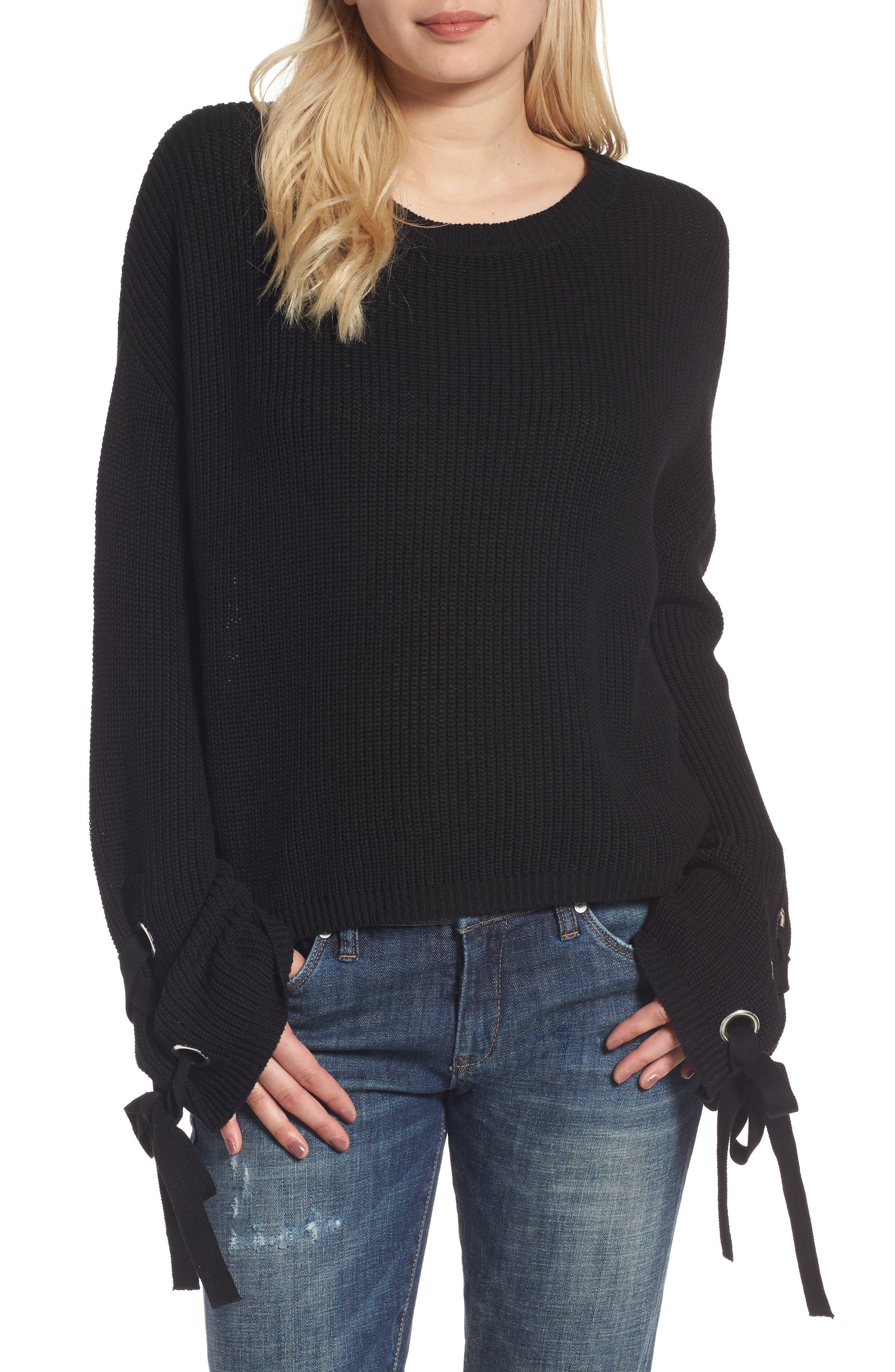 Grommet Sleeve Pullover,                             Main thumbnail 1, color,                             001