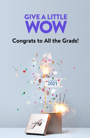 Give a little wow: congrats to all the grads! A silver gift box, sparklers and confetti.